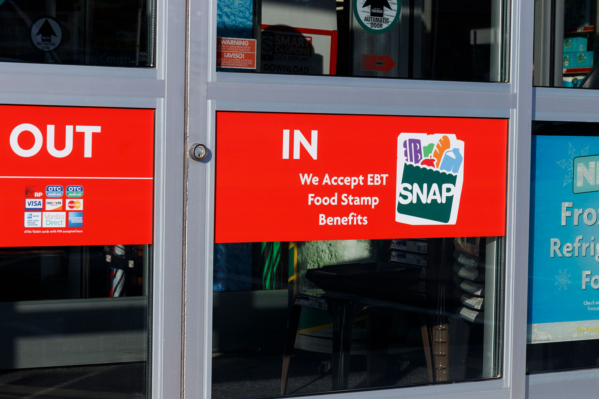 SNAP and EBT Accepted here sign. SNAP provides nutrition benefits to supplement the food budget of disadvantaged families