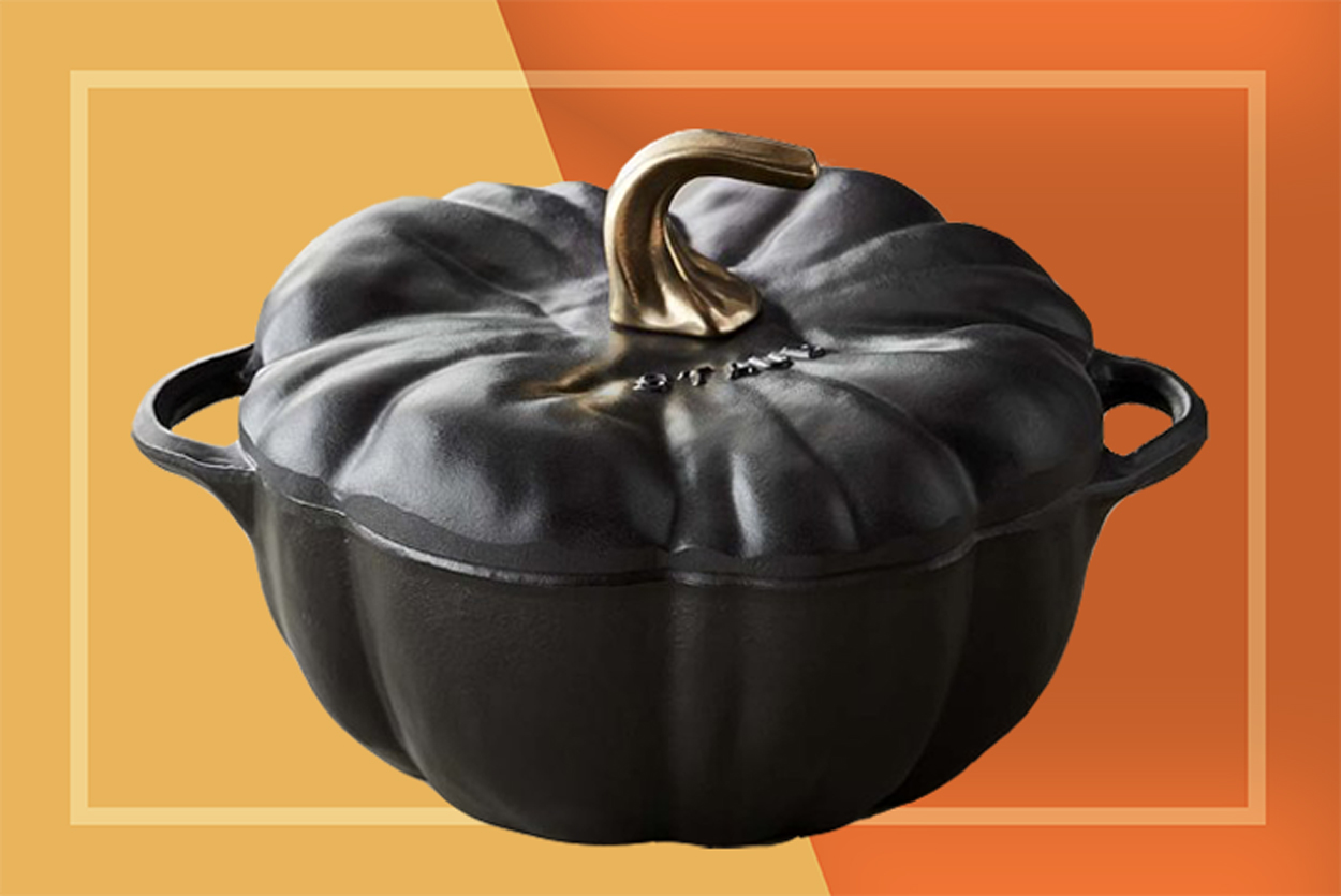 Staub Enamel Cast Iron Matte Black Pumpkin Dutch Oven