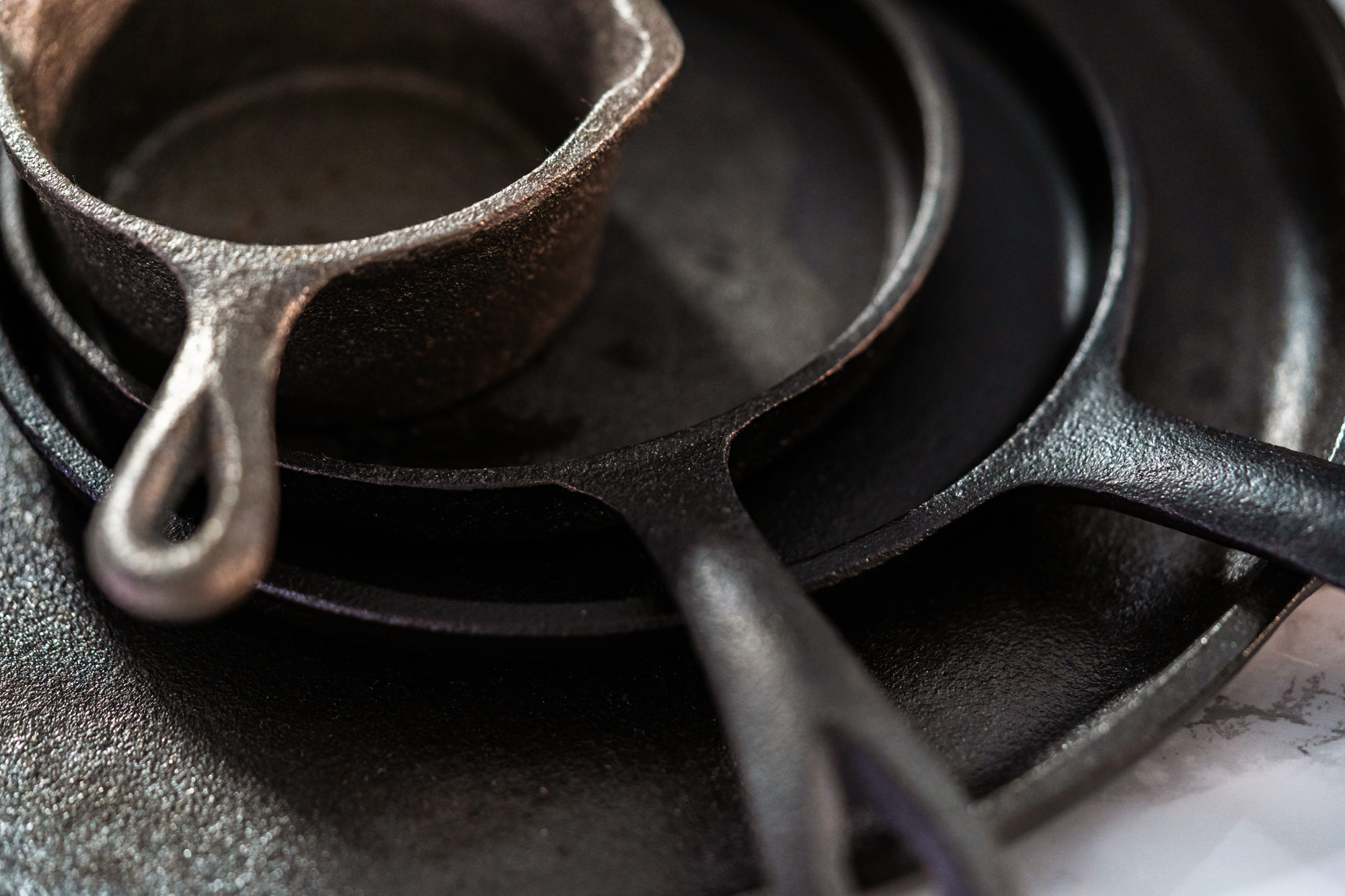 Stack of cast iron cookware