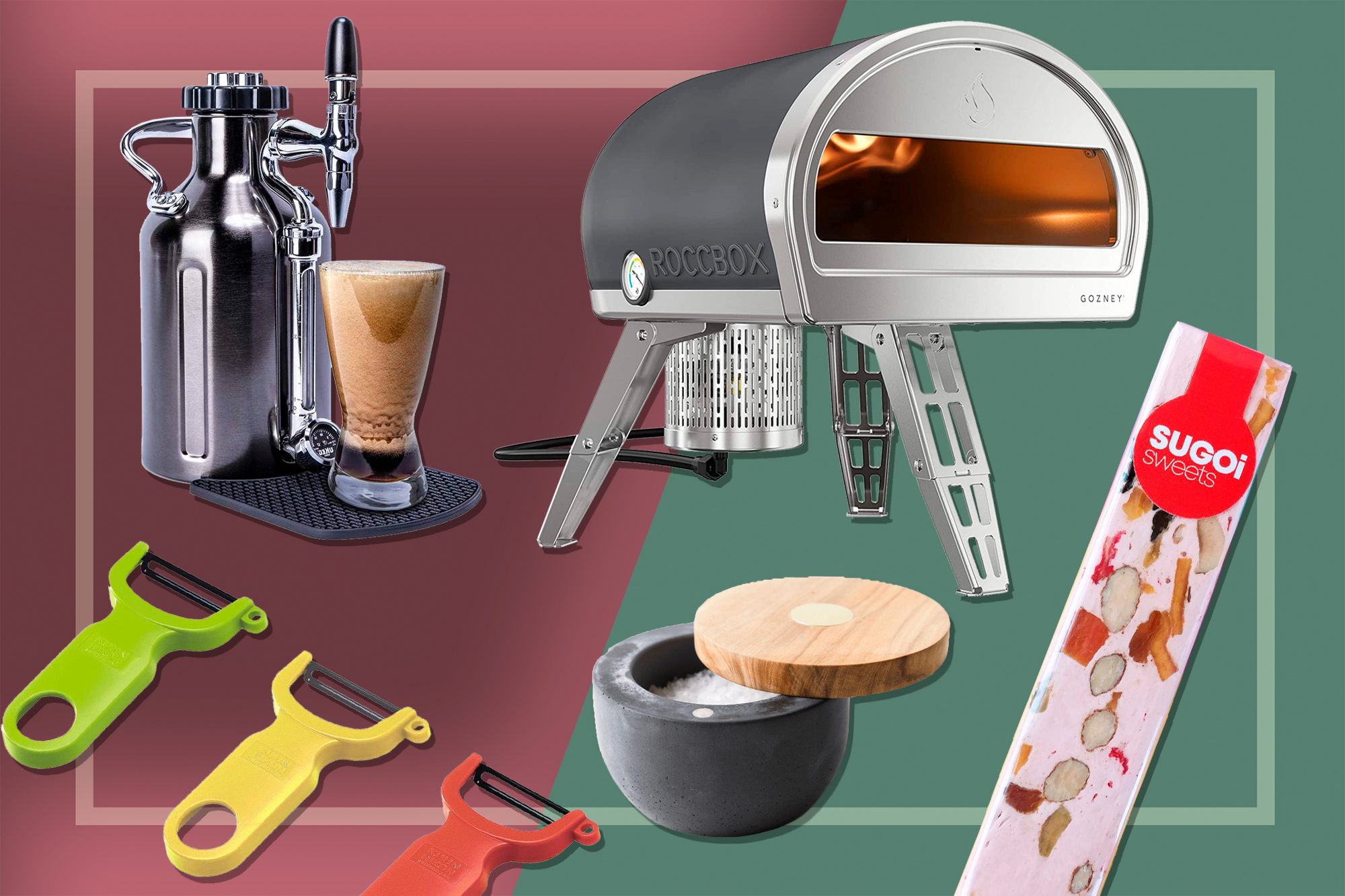 Vegetable peelers, salt keeper, nougat, pizza oven, and nitro cold brew coffee maker