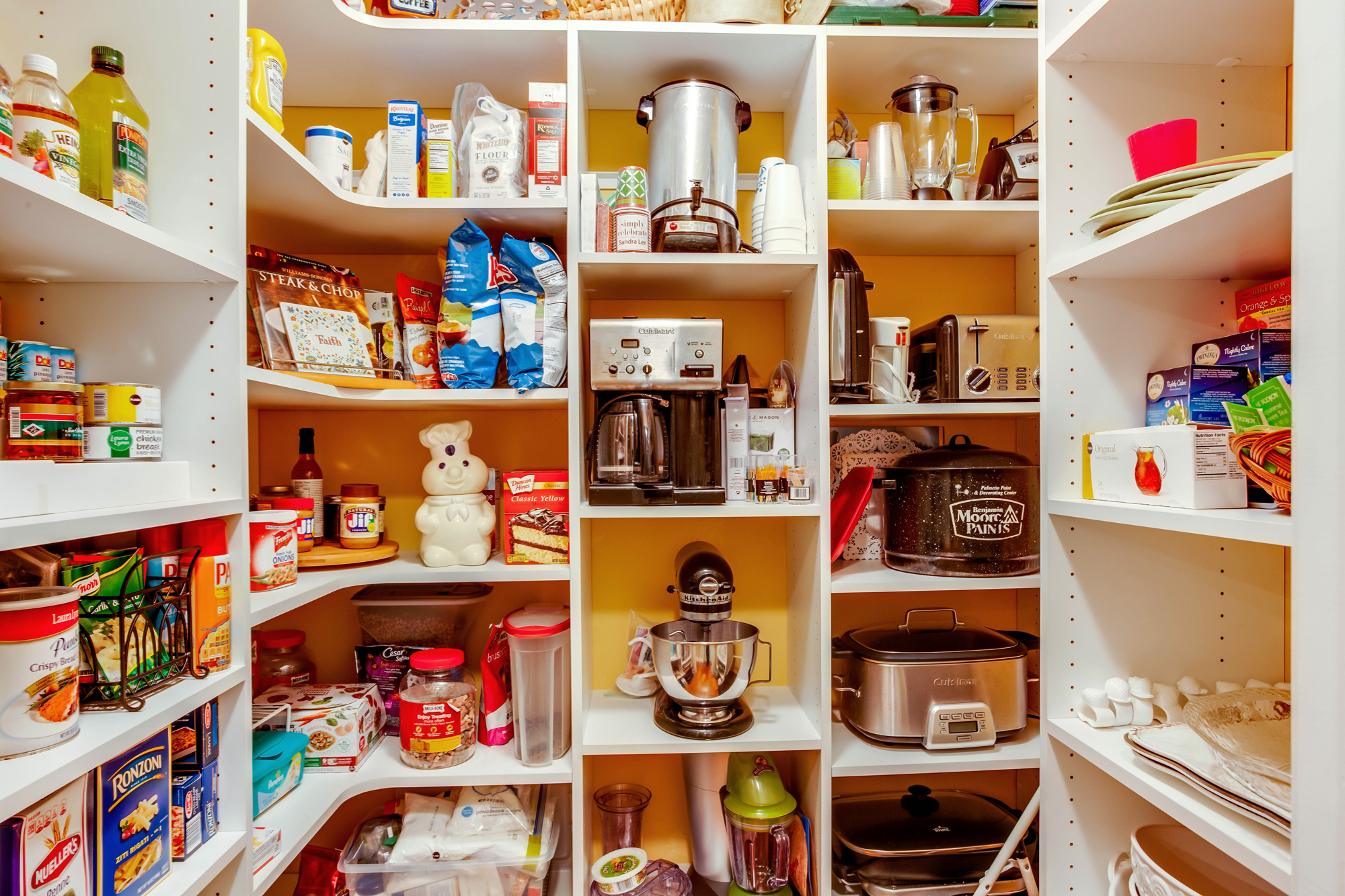 Pantry with boxed food ingredients