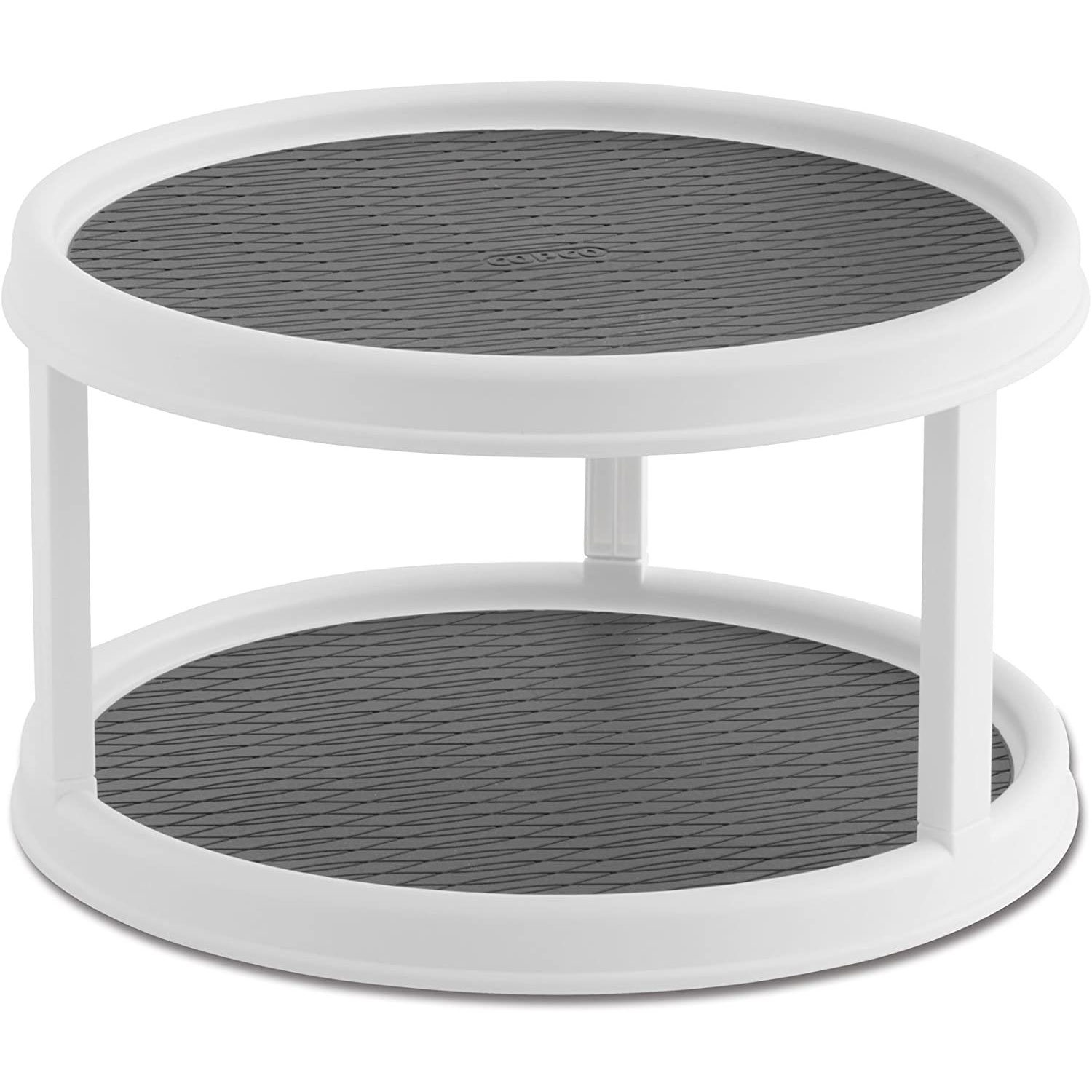 copco non-skid 2 tier pantry cabinet lazy susan turntable white gray