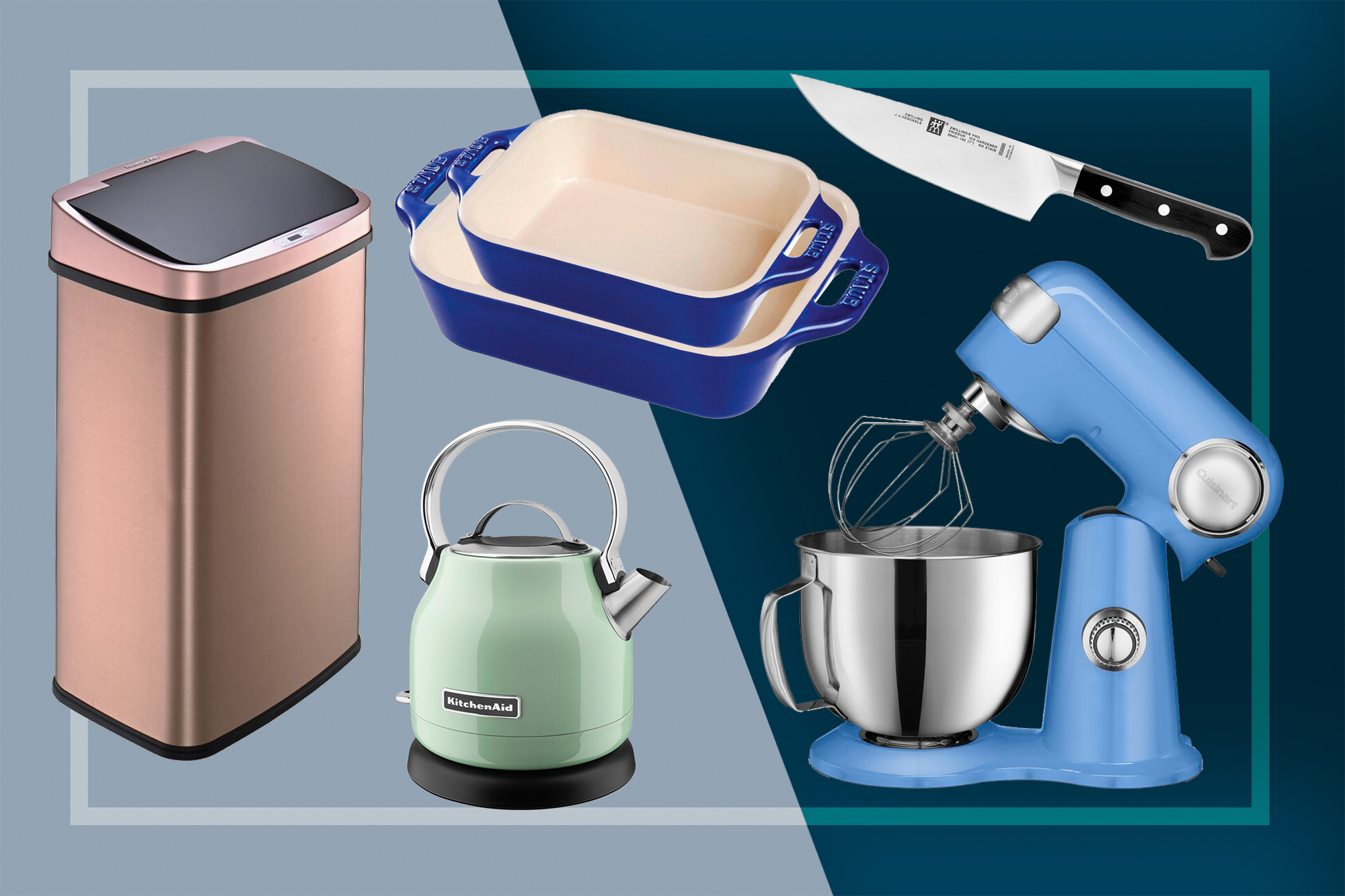 Wayfair items: Trash can, baking dishes, tea kettle, chef's knife, stand mixer