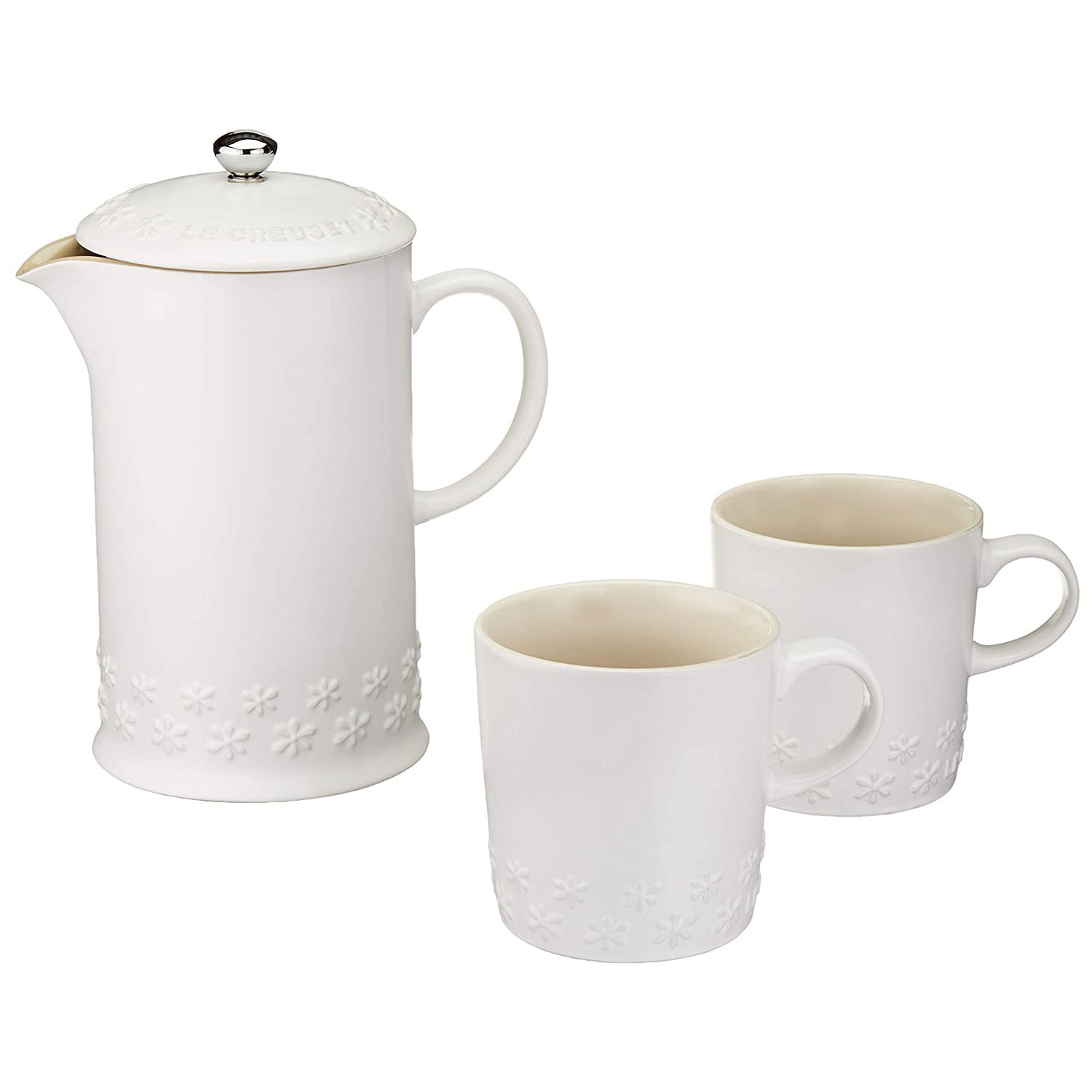le creuset stoneware french press two mugs