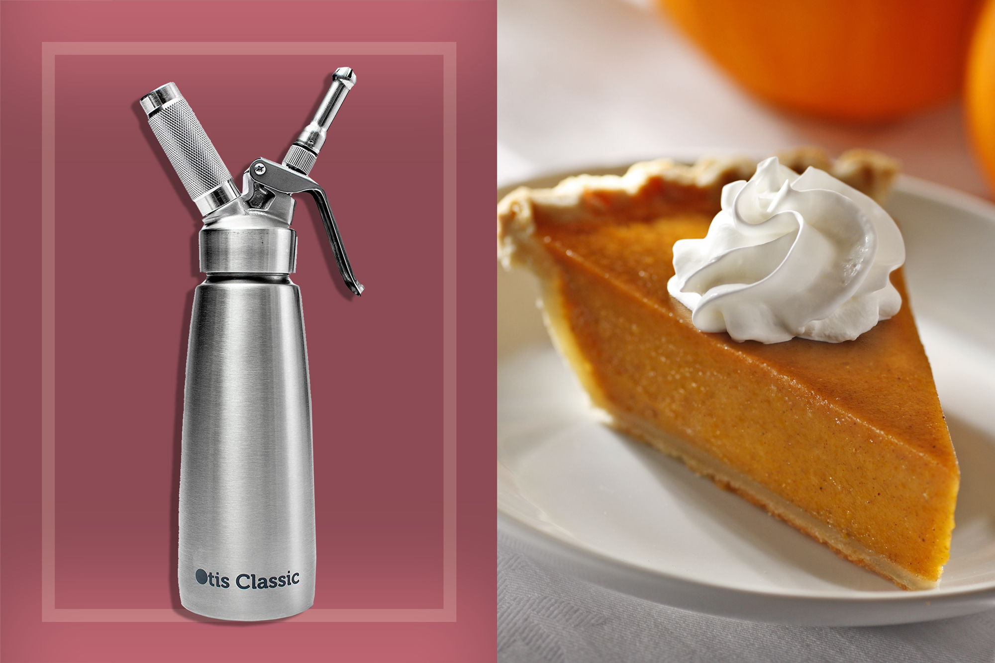 whipped cream dispenser and a slice of pumpkin pie with whipped cream on top