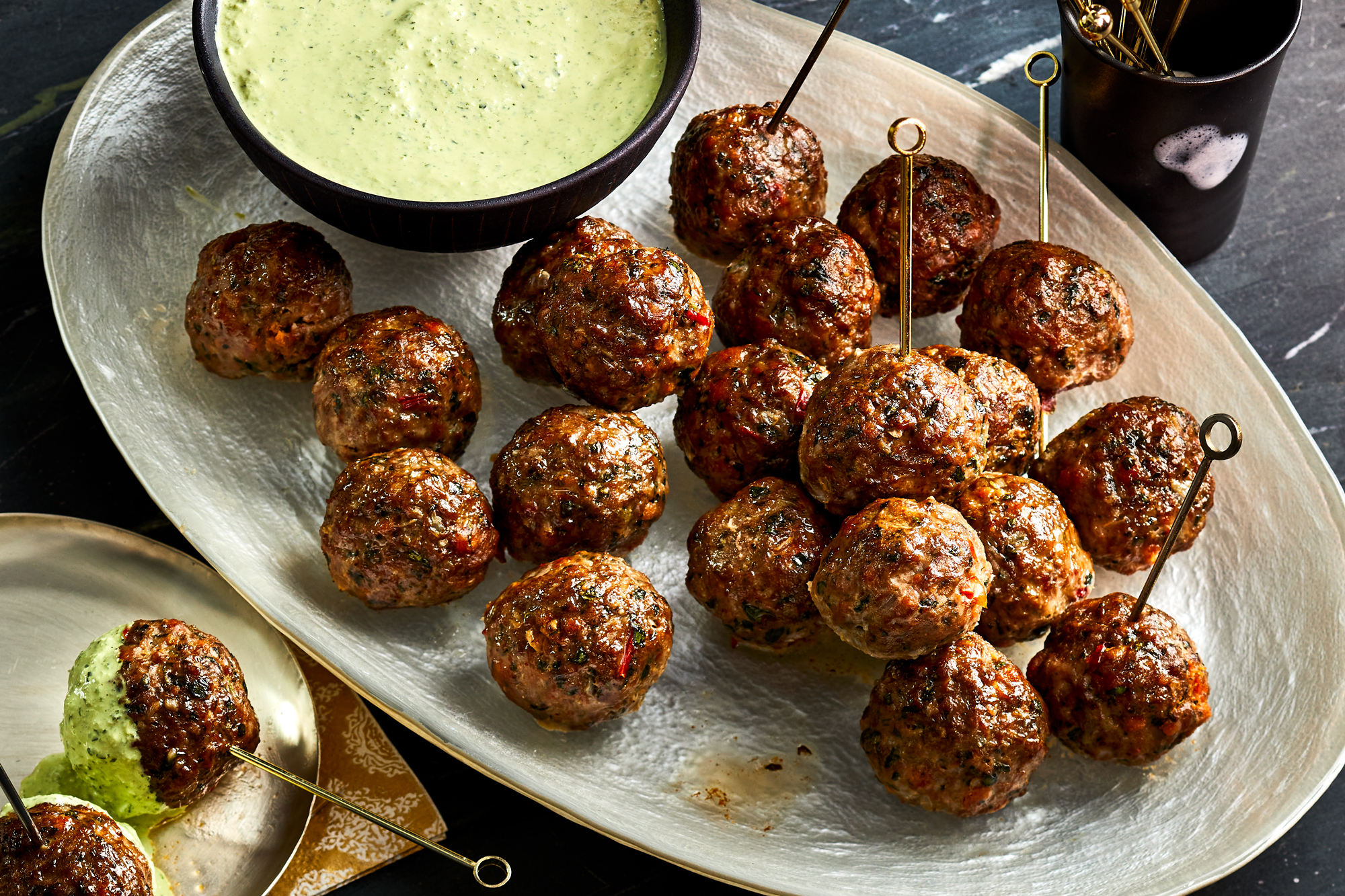 Spicy Lamb Meatballs with Green Goddess Dip