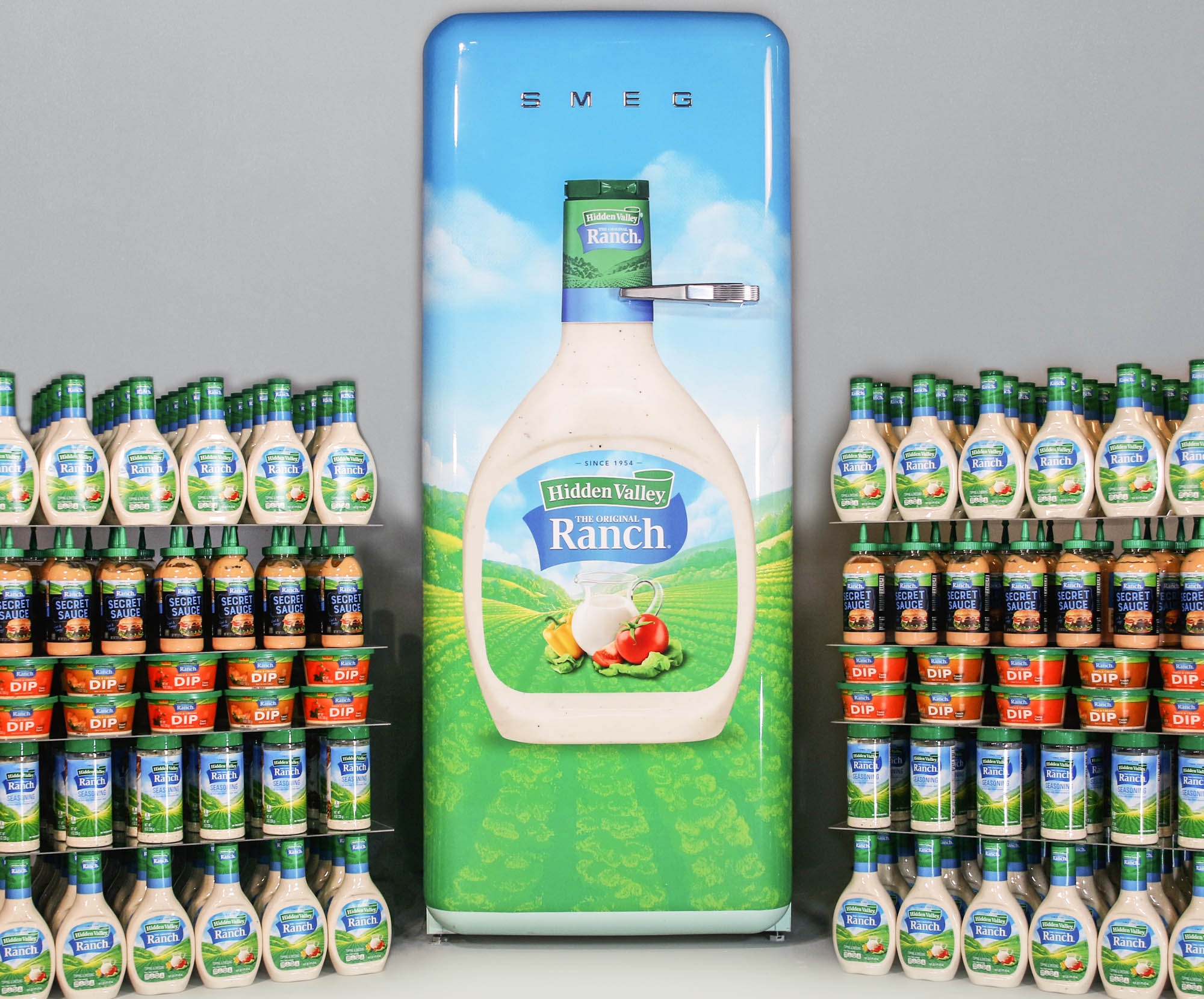 Lifetime supply Hidden Valley Ranch Dressing and a ranch fridge
