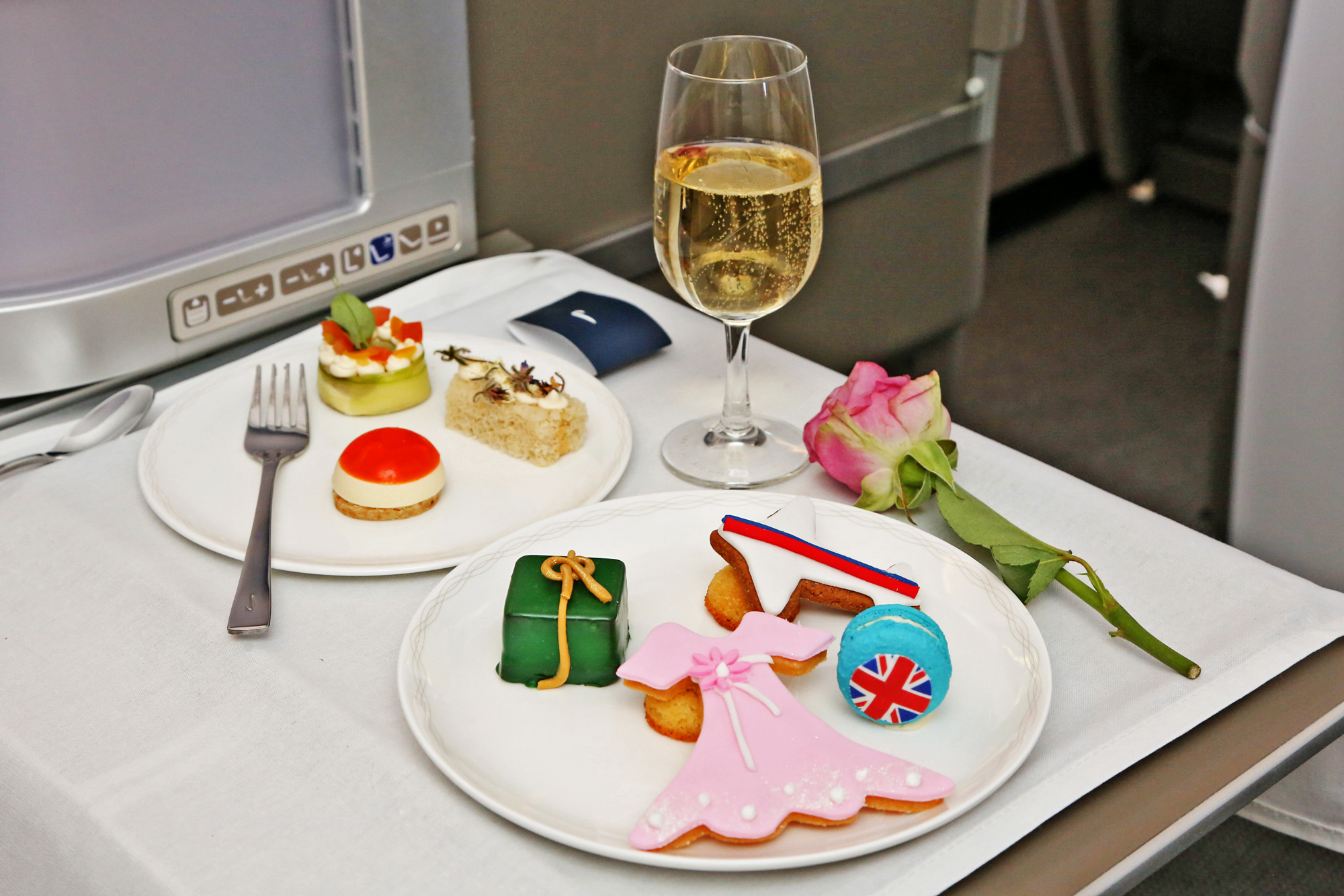 The meal prepared by celebrity Chef David Higgs on board the new British Airways Airbus A380 on February 6, 2014 in Johannesburg, South Africa.