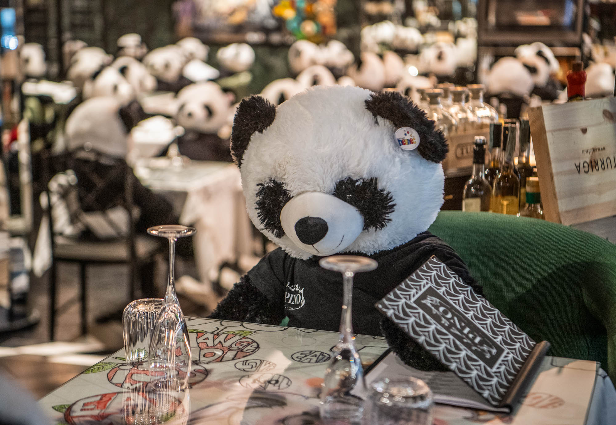 German Restaurant Protests Shutdown with Giant Stuffed Pandas