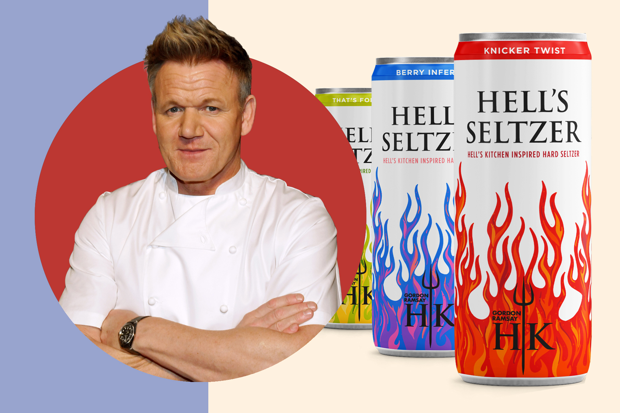 Gordan Ramsay and cans of Hell's Hard Seltzer