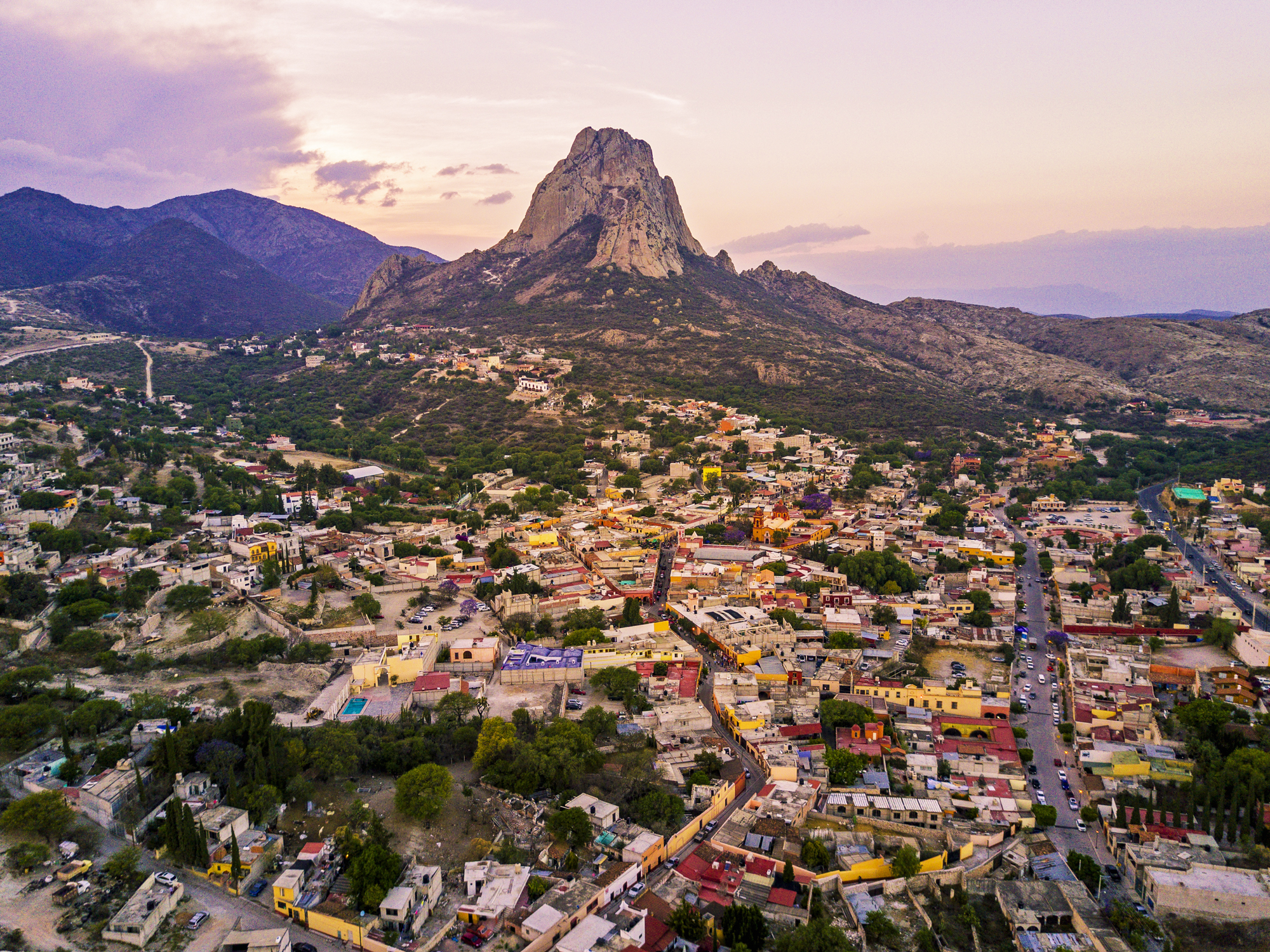 Aerial view of Peña de Bernal