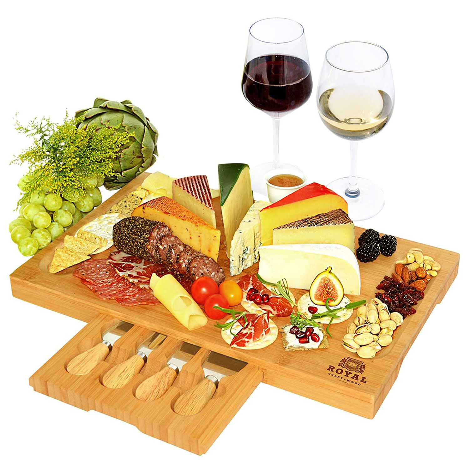Unique Bamboo Cheese Board, Charcuterie Platter & Serving Tray Including 4 Stainless Steel Knife & Thick Wooden Server