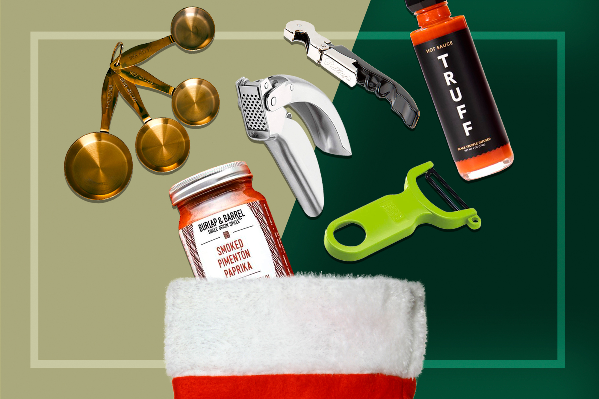 stocking stuff gifts: measuring cups, garlic press, wine opener, truffle hot sauce, vegetable peeler, smoke paprika