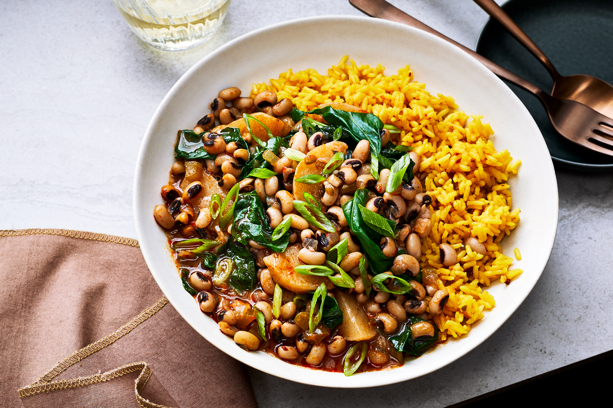 Hoppin' John with Turnips and Turnip Greens