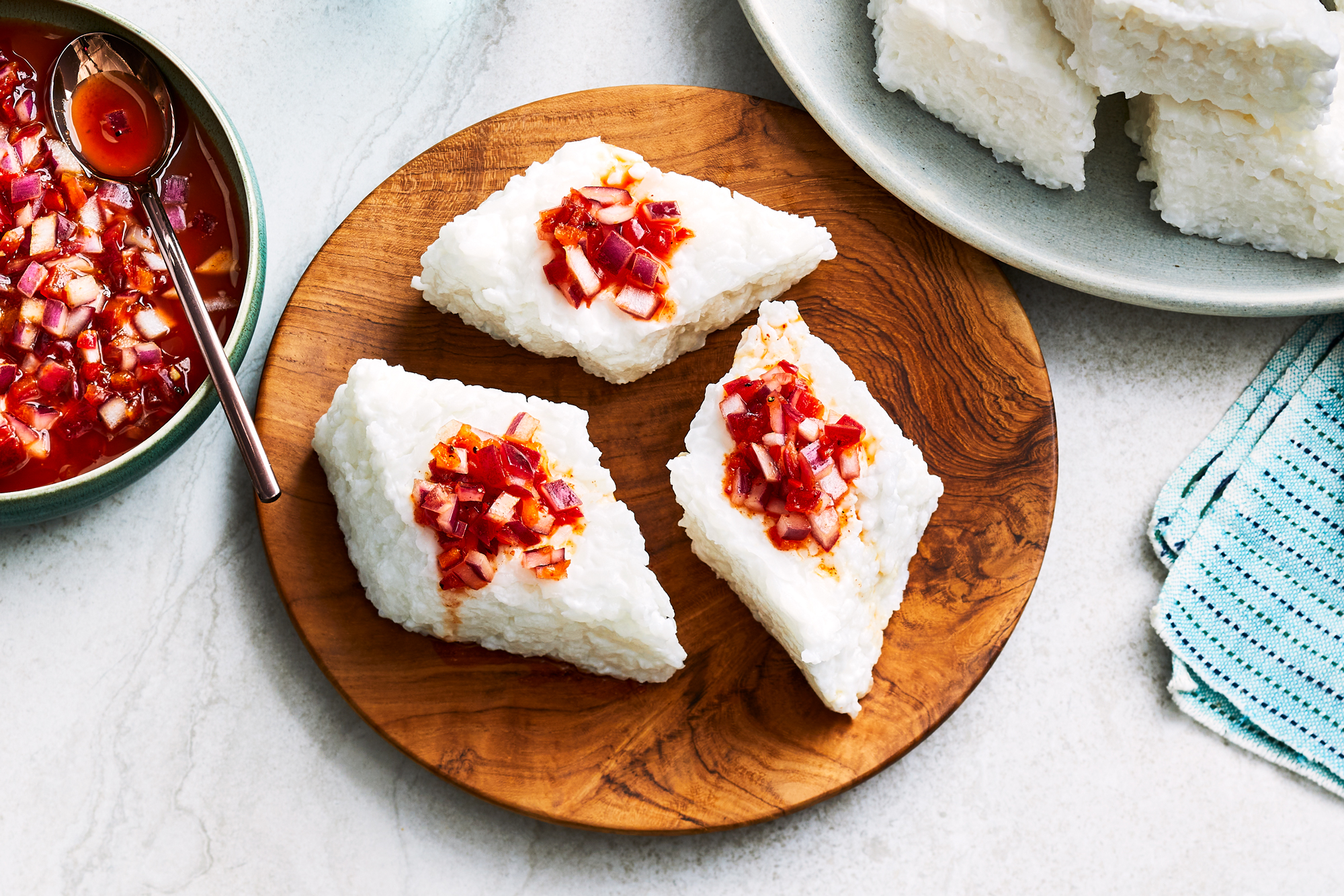Kiribath with Lunu Miris (Coconut Rice with Sambal)