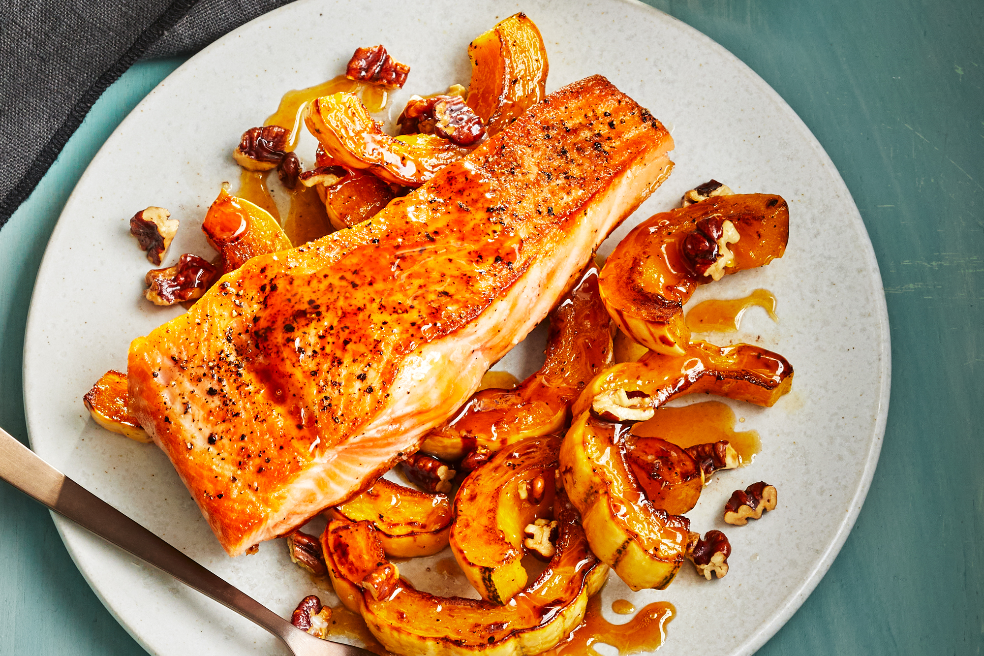 Brown Sugar Glazed Salmon with Buttery Roasted Squash