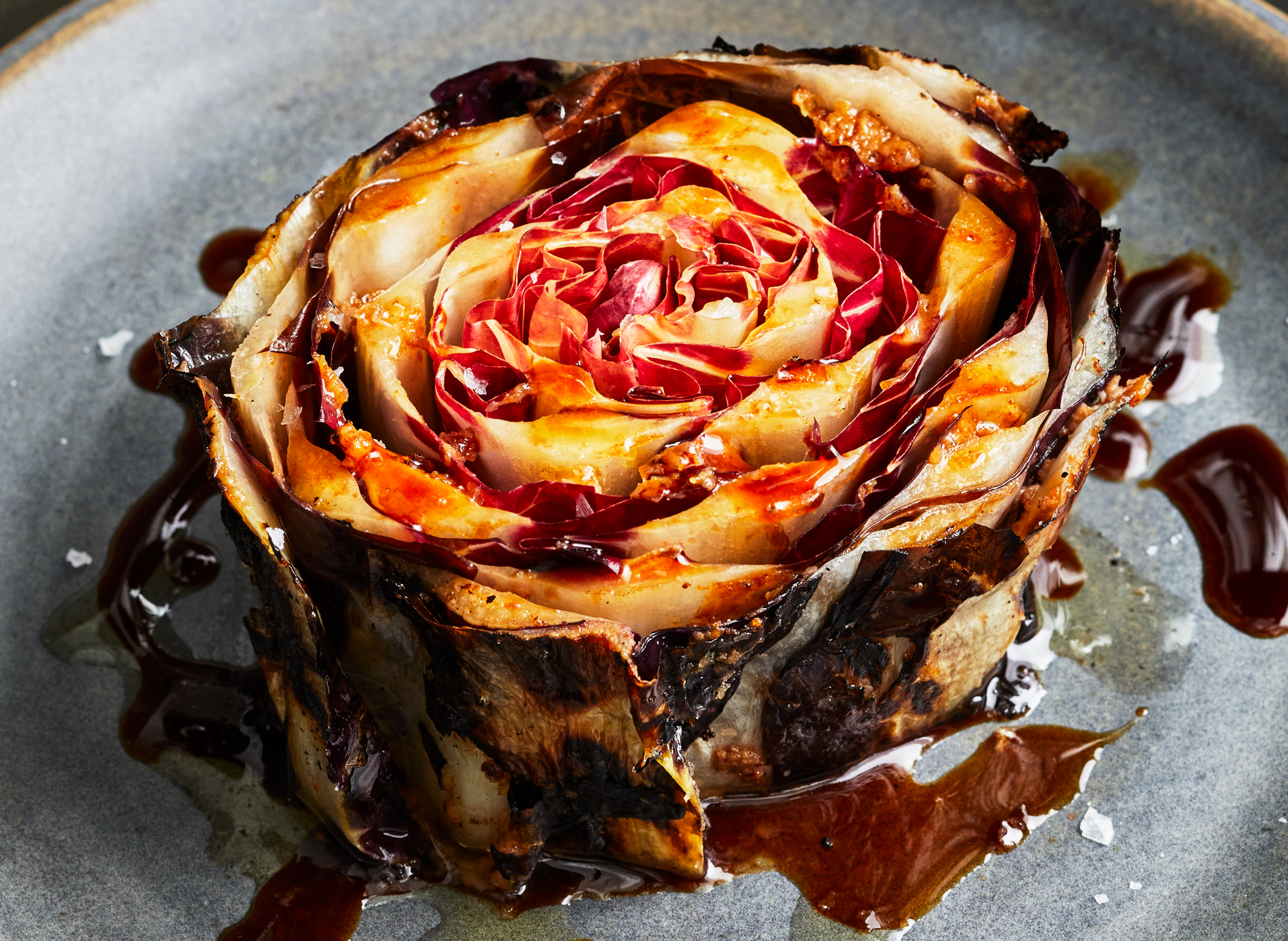 Grilled Verona Radicchio with Bottarga and Wild Apple Molasses