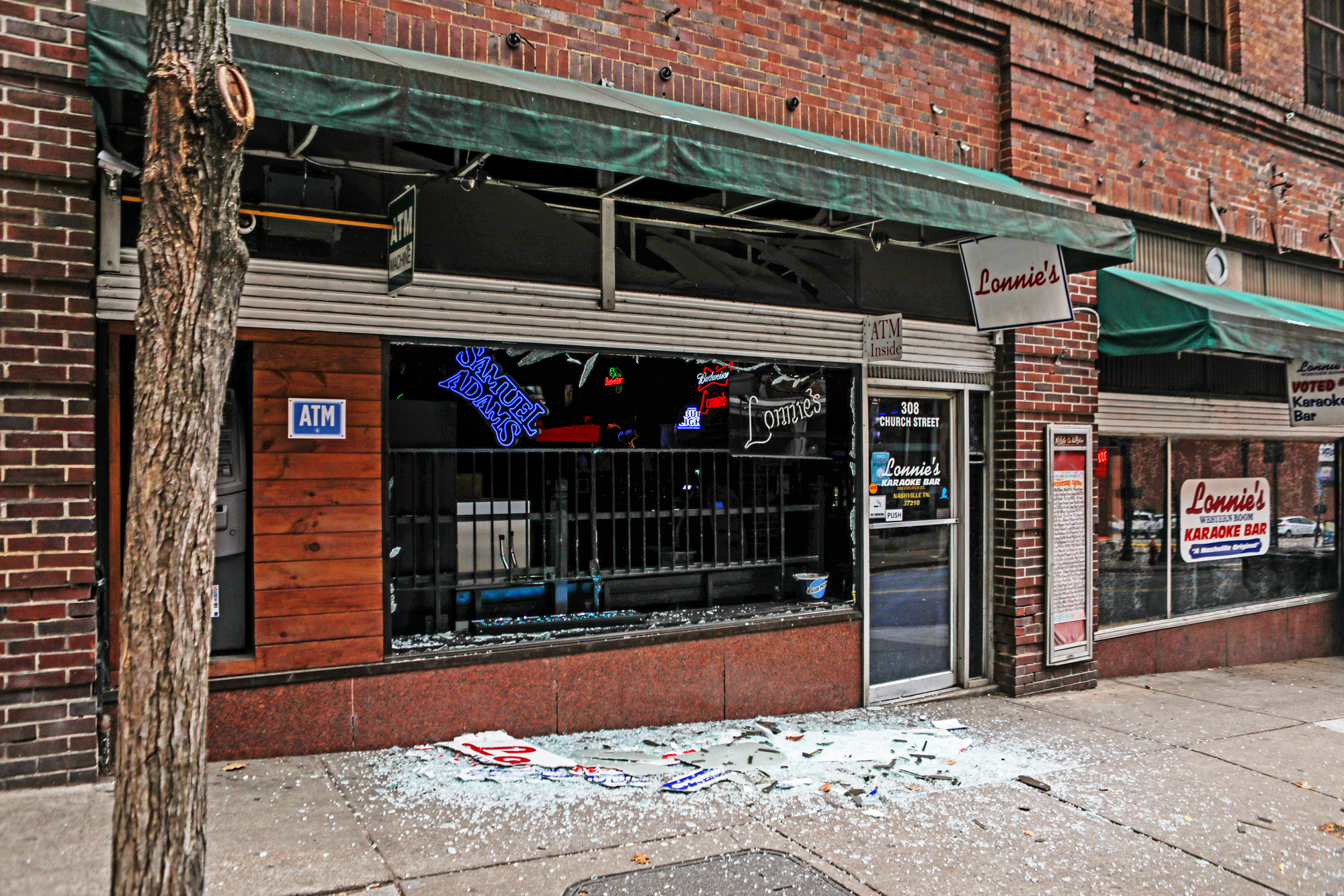 Windows are blown out of a business on Church St after an explosion on December 25, 2020 in Nashville, Tennessee.
