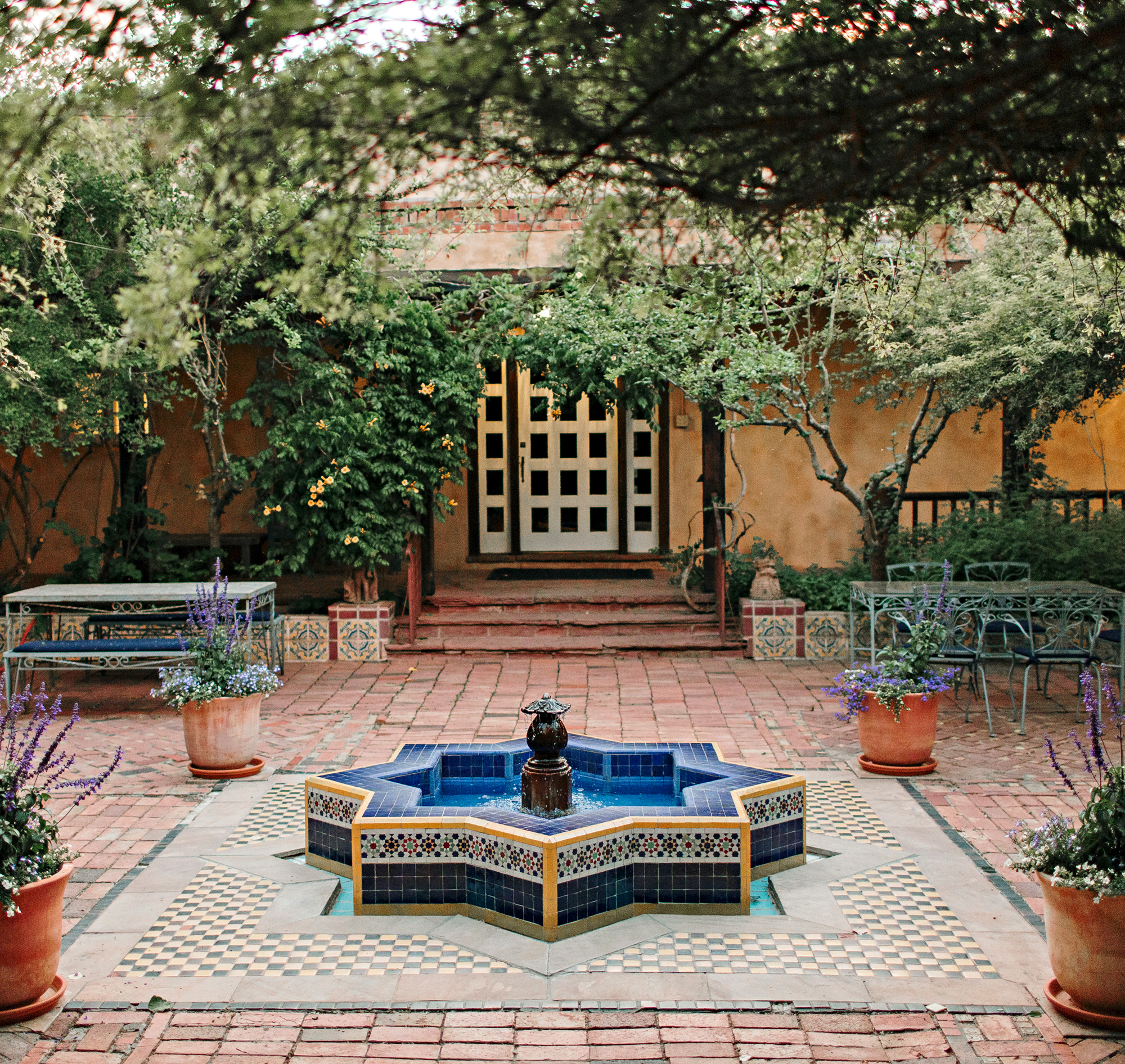 The courtyard at Los Poblanos in New Mexico