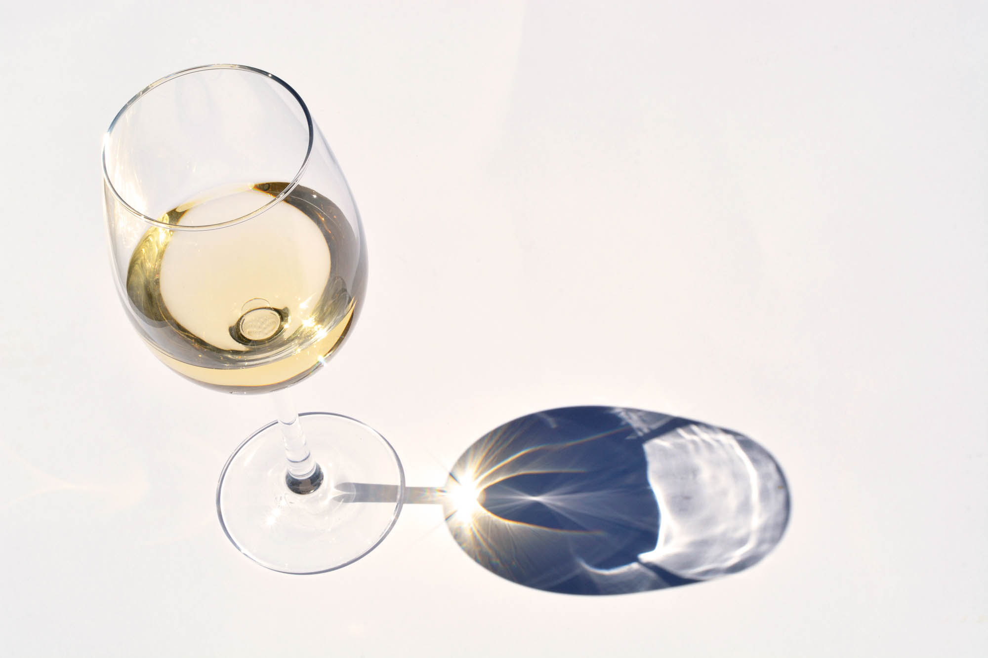White wine glass with reflection shadow effect on a white empty copy space background