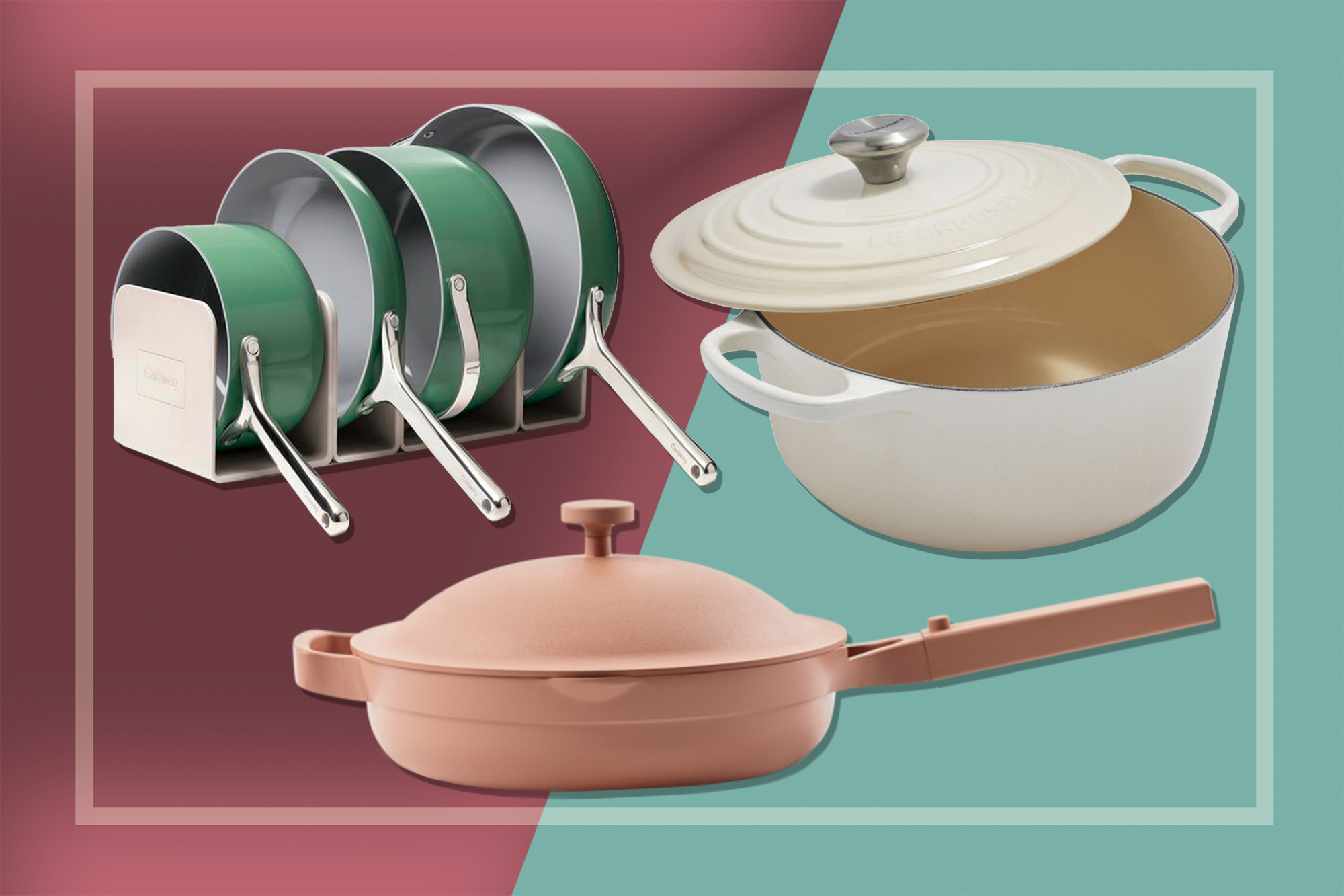 Caraway, Le Creuset, and Our Place cookware
