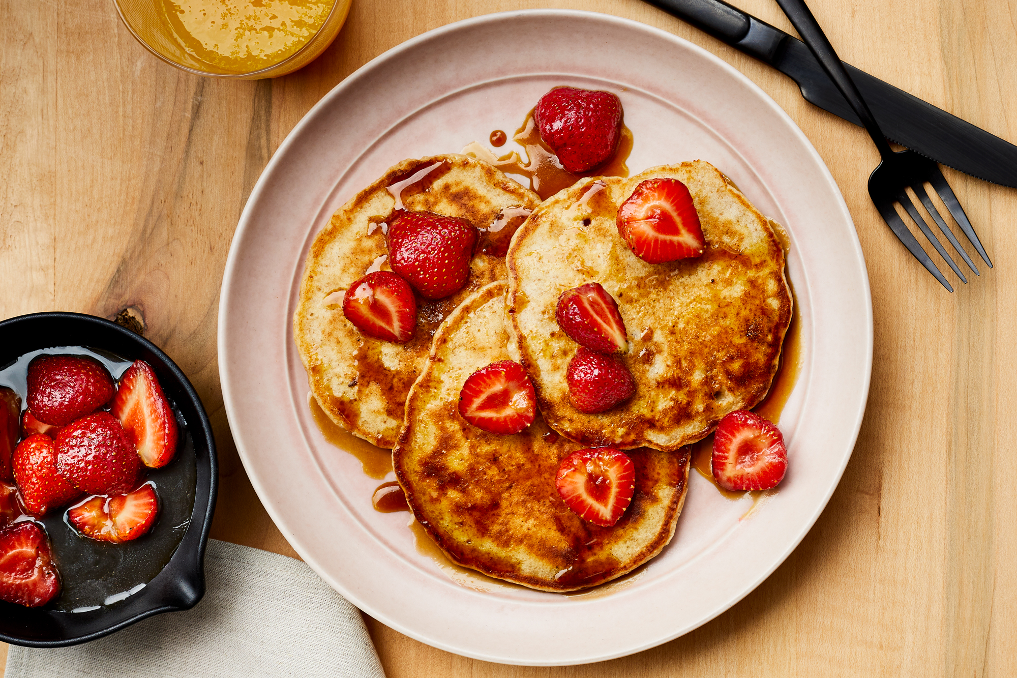 Sourdough Pancakes with Maple-Molasses Strawberries