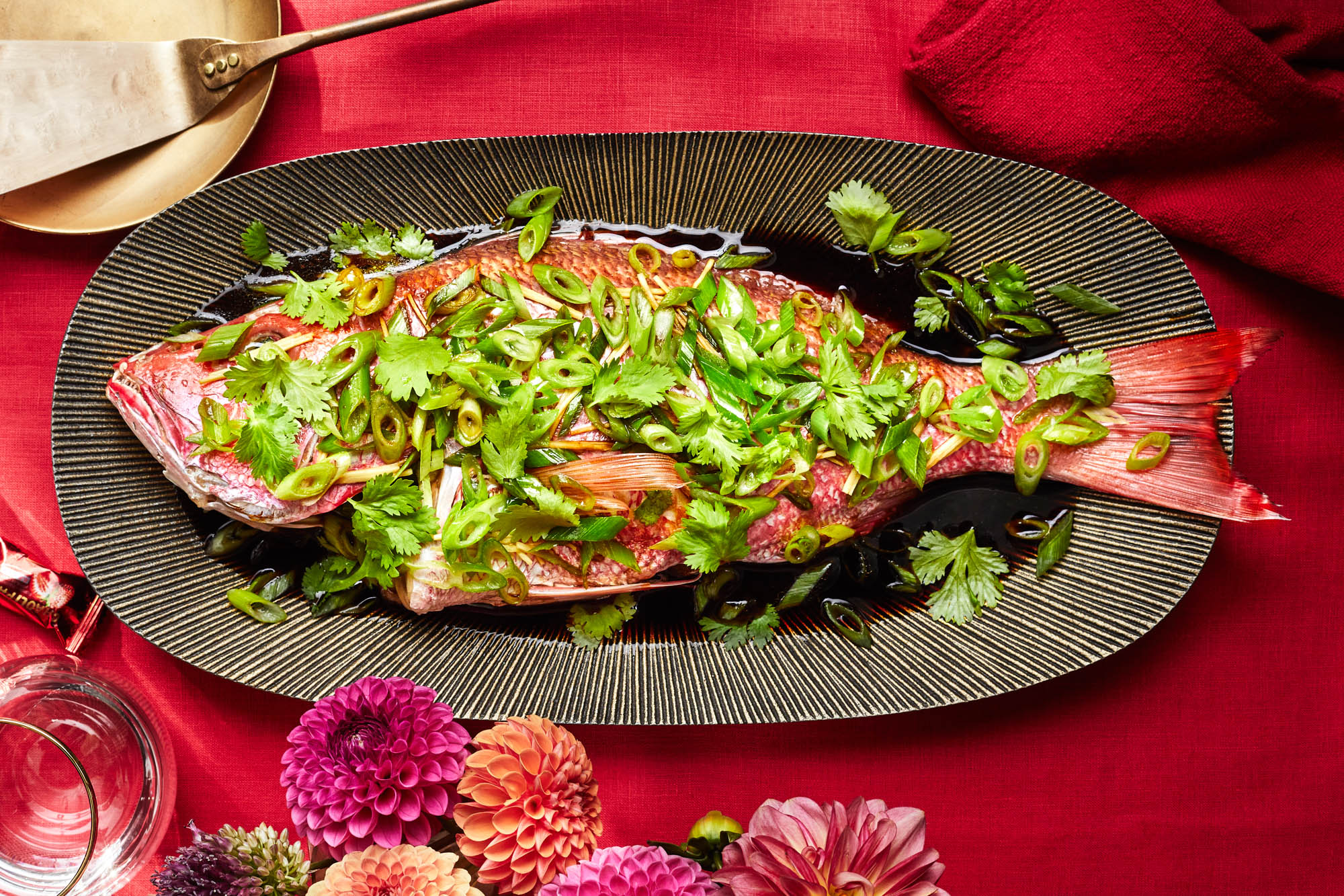 Whole Fish Drizzled with Hot Ginger-Scallion Oil