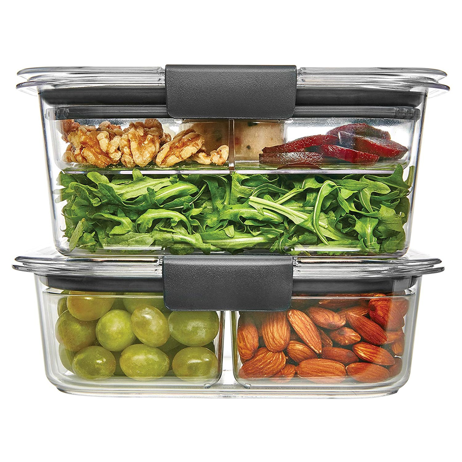 Rubbermaid Brilliance Food Storage Container, Salad and Snack Lunch Combo Kit, Clear