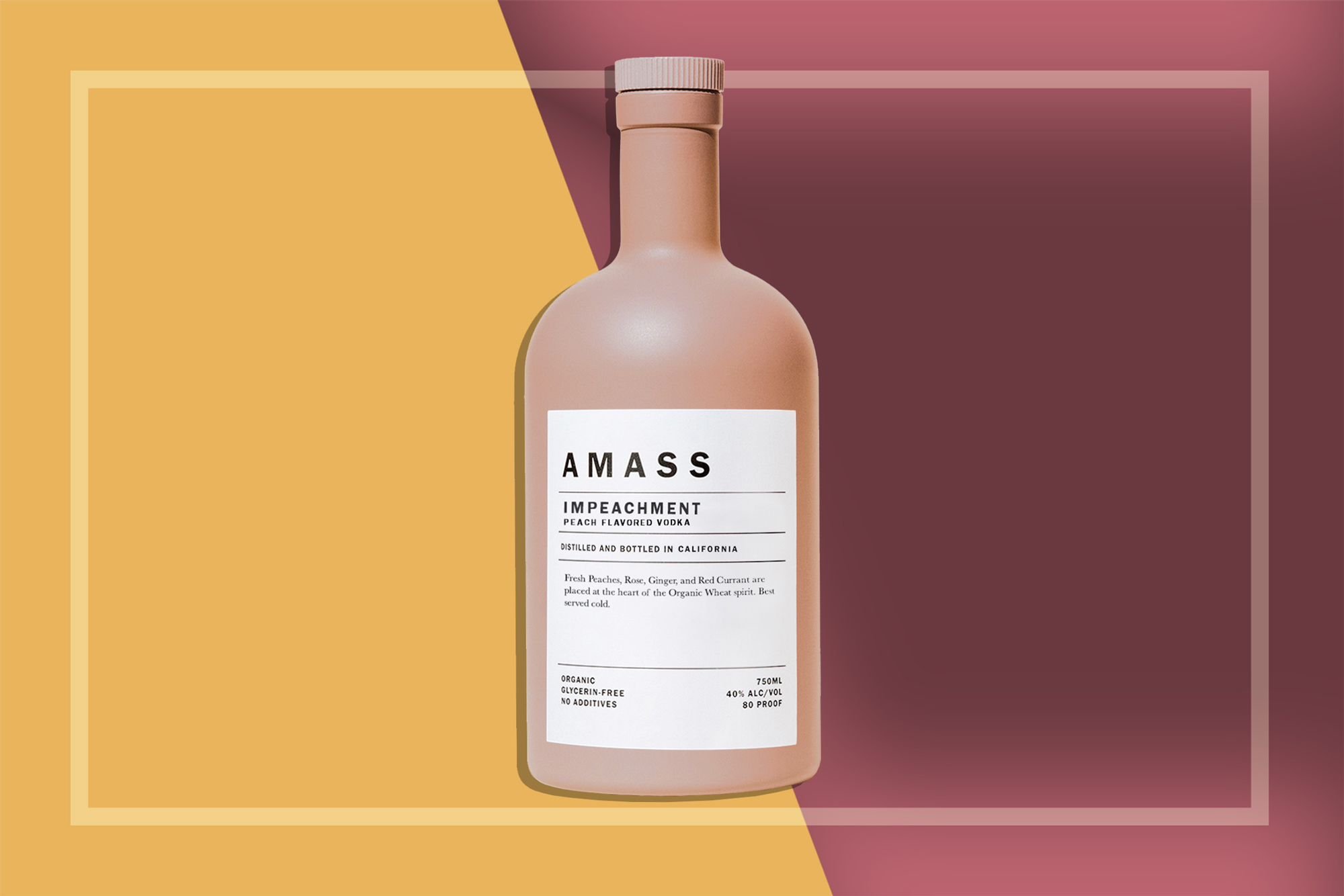 Bottle of AMASS Impeachment Peach Flavored Vodka