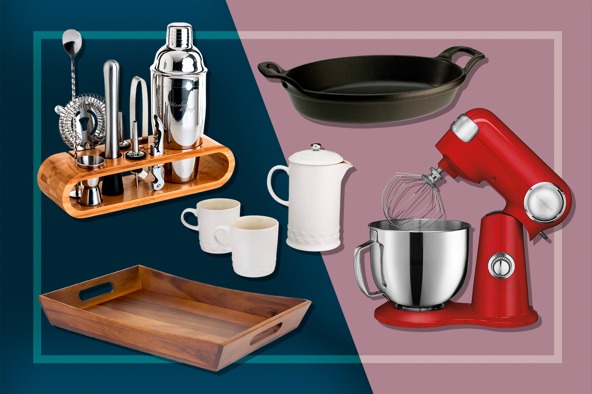 Valentine's Day Gifts: Serving tray, stand mixer, bar tools