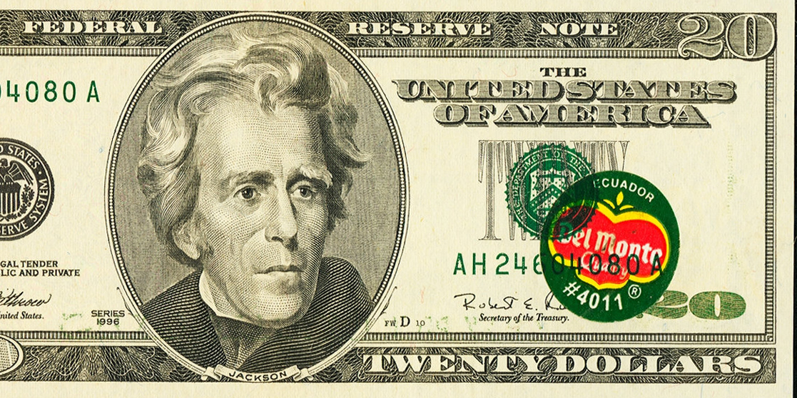 Twenty dollar bill banana sticker