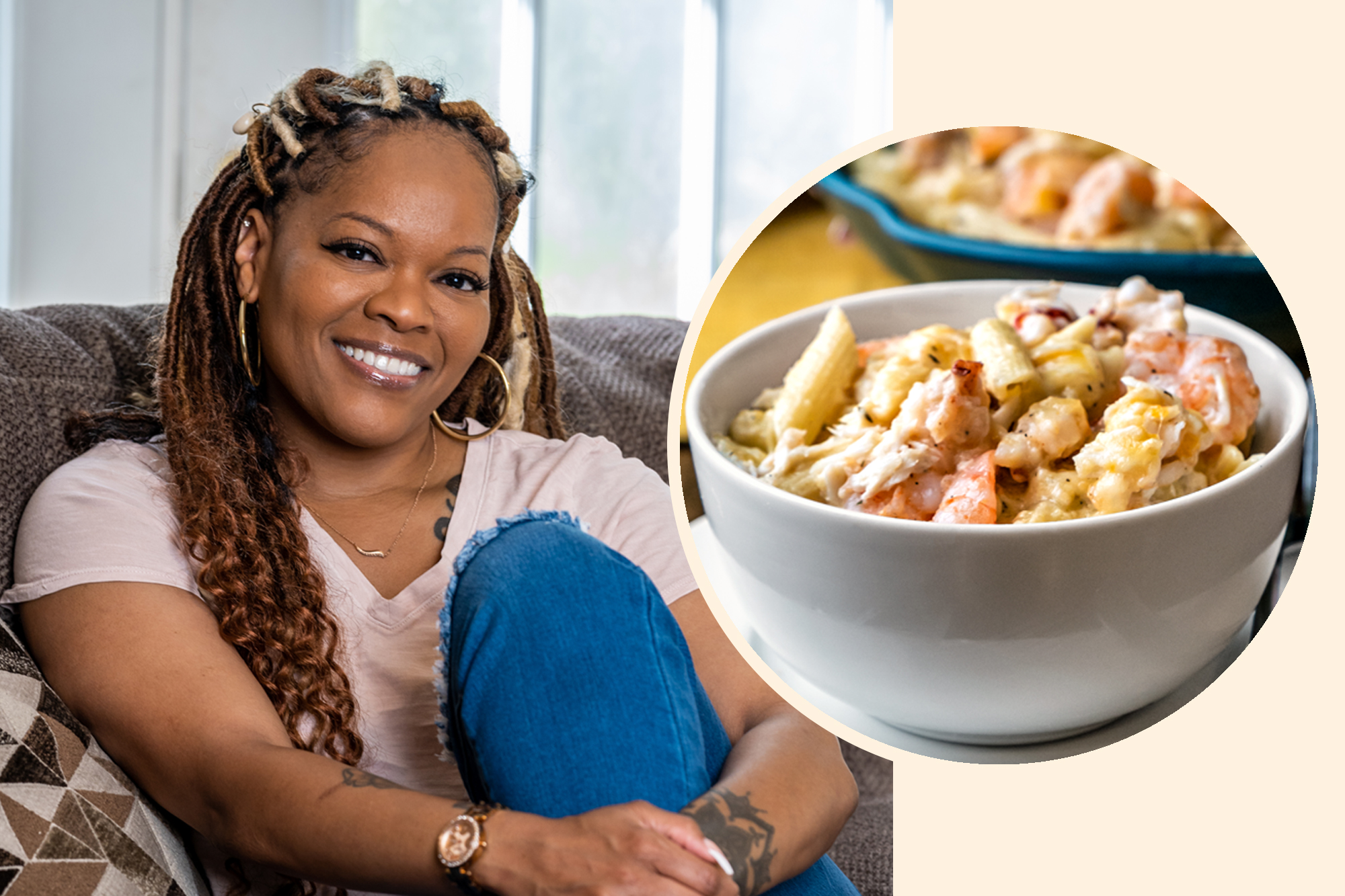 Auntie Monica Williams and her Seafood Mac and Cheese