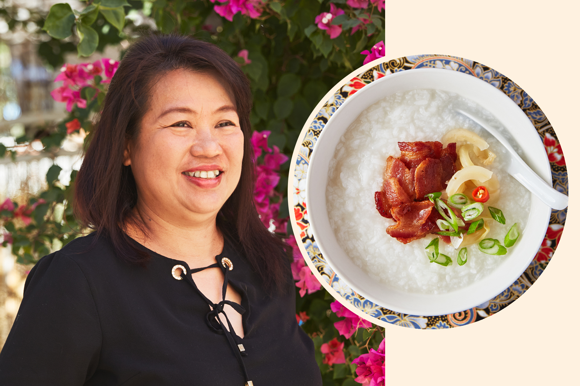 Auntie Oranij Promsatit and her Khao Tom (Thai Breakfast Porridge with Bacon)