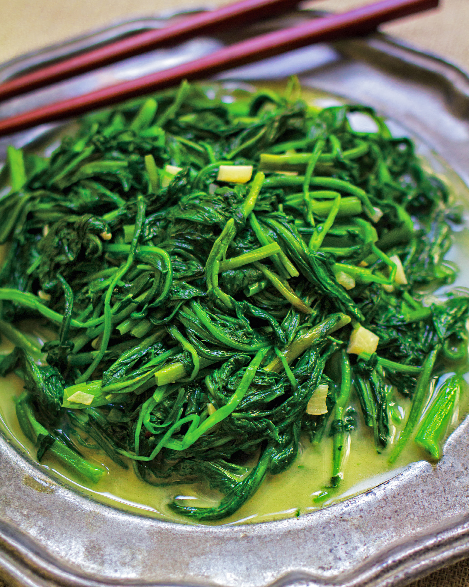 Fu Ru Kong Xin Cai (Sauteed Water Spinach with Fermented Tofu)