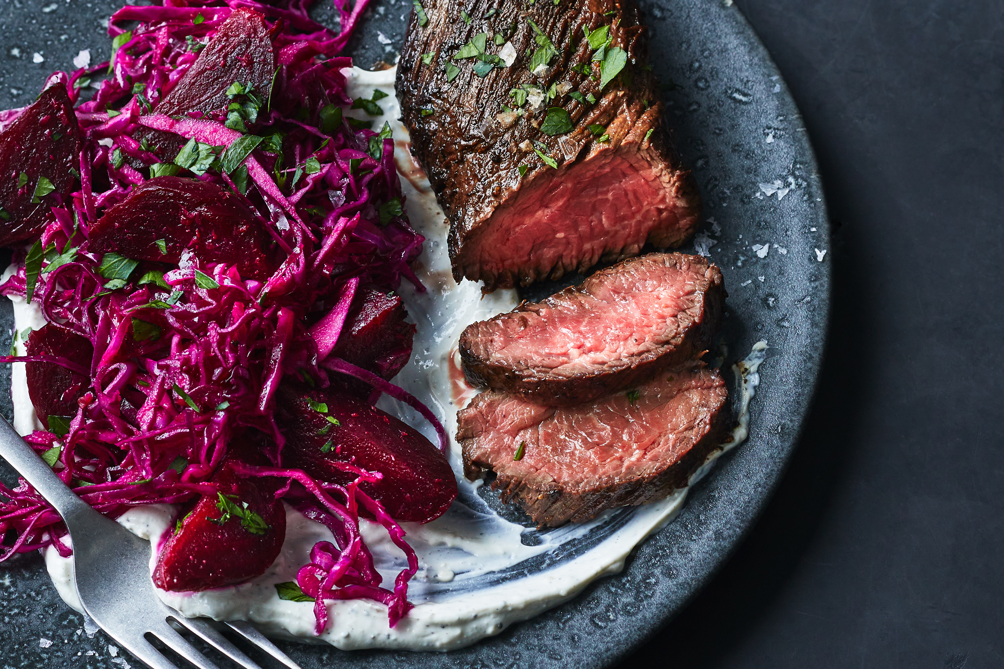 Hanger Steaks with Cabbage and Beet Salad