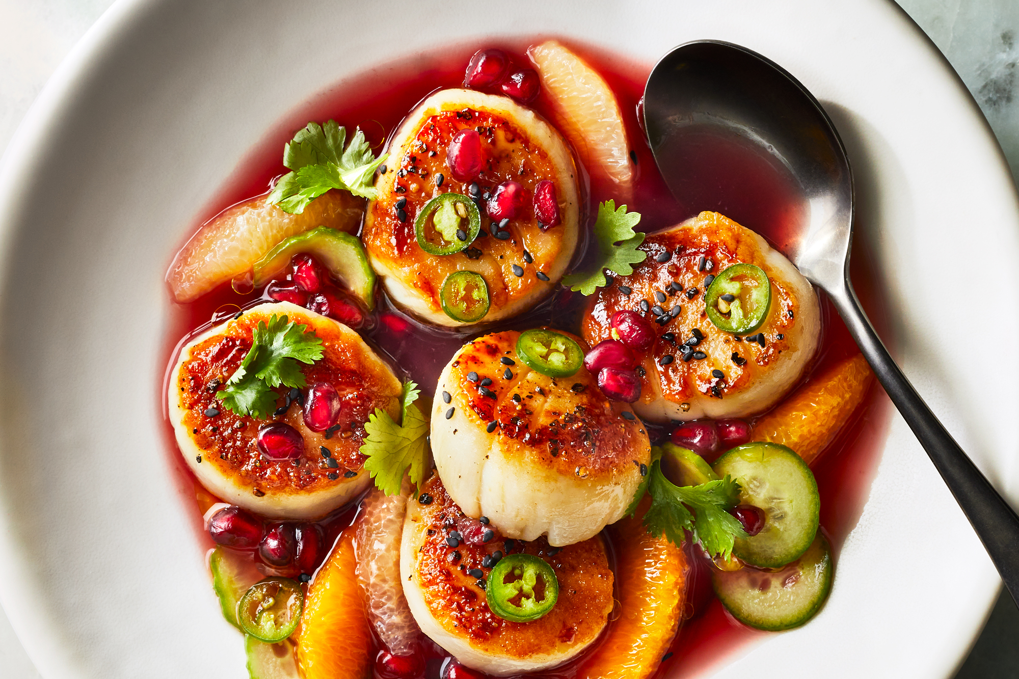 Seared Scallops with Pomegranate and Meyer Lemon