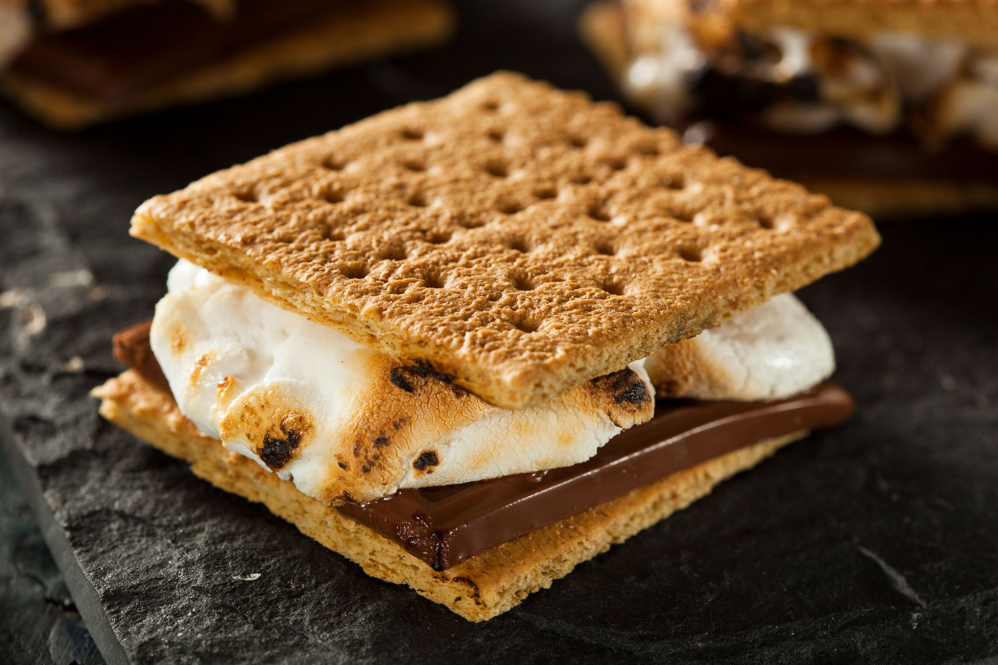 S'more with burnt marshmallow and melted chocolate