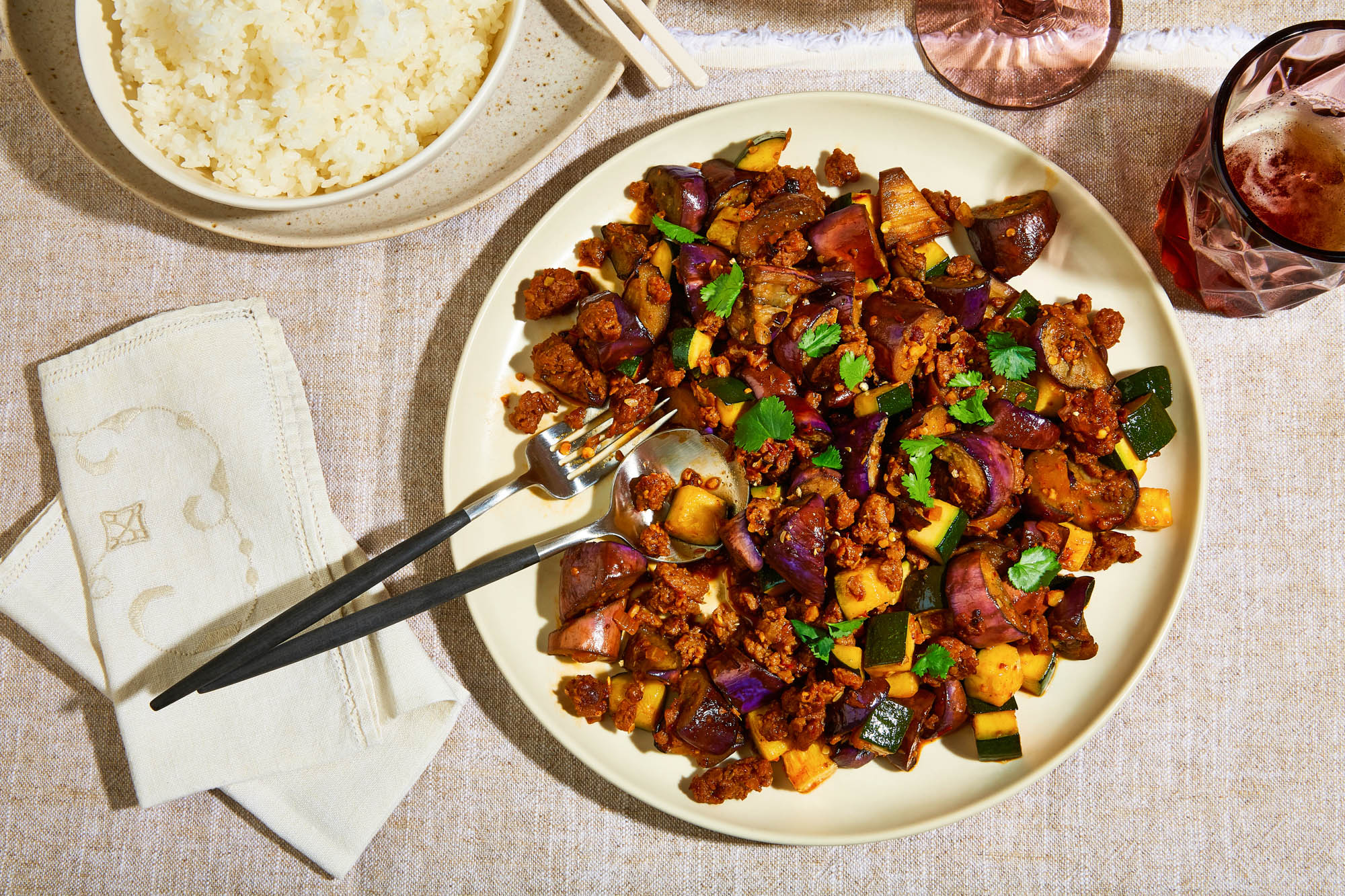 Eggplant and Chili Garlic Stir-Fry with Plant-Based Meat
