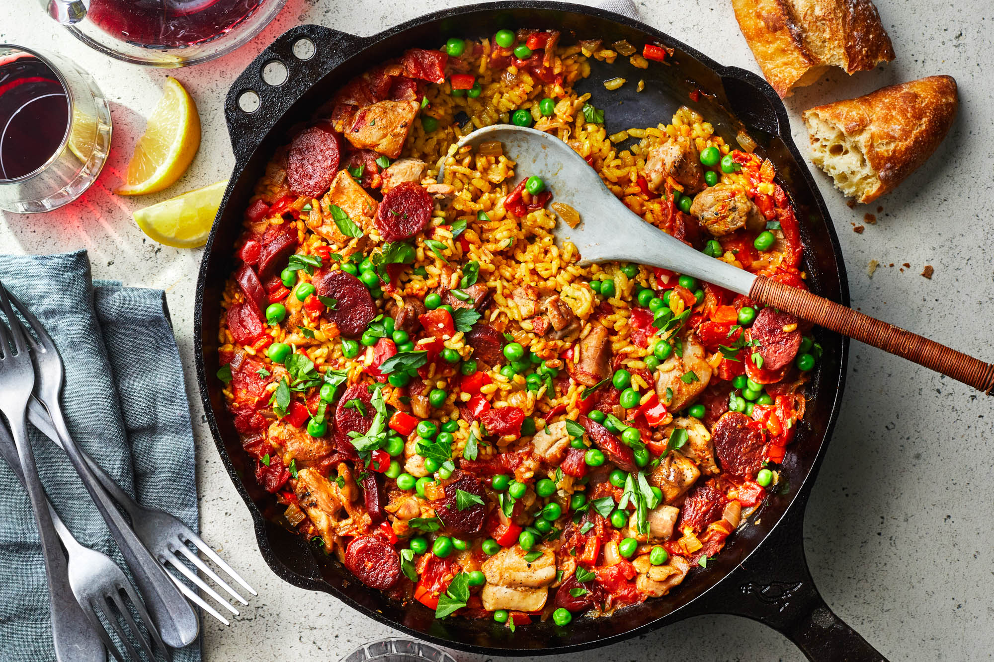 Chicken and Chorizo Skillet Paella