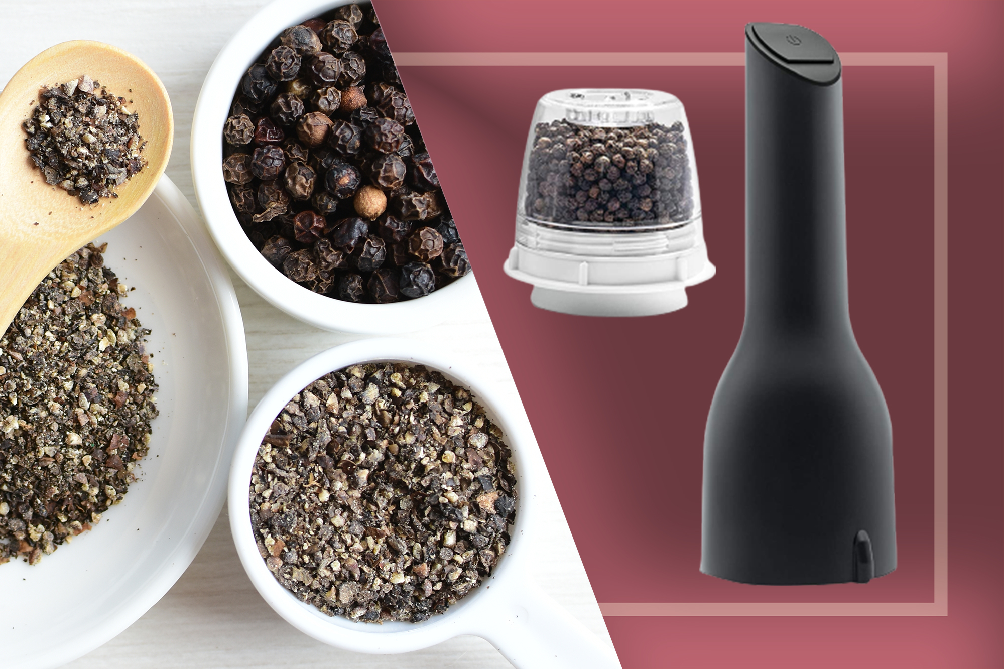 Ground and whole peppercorns