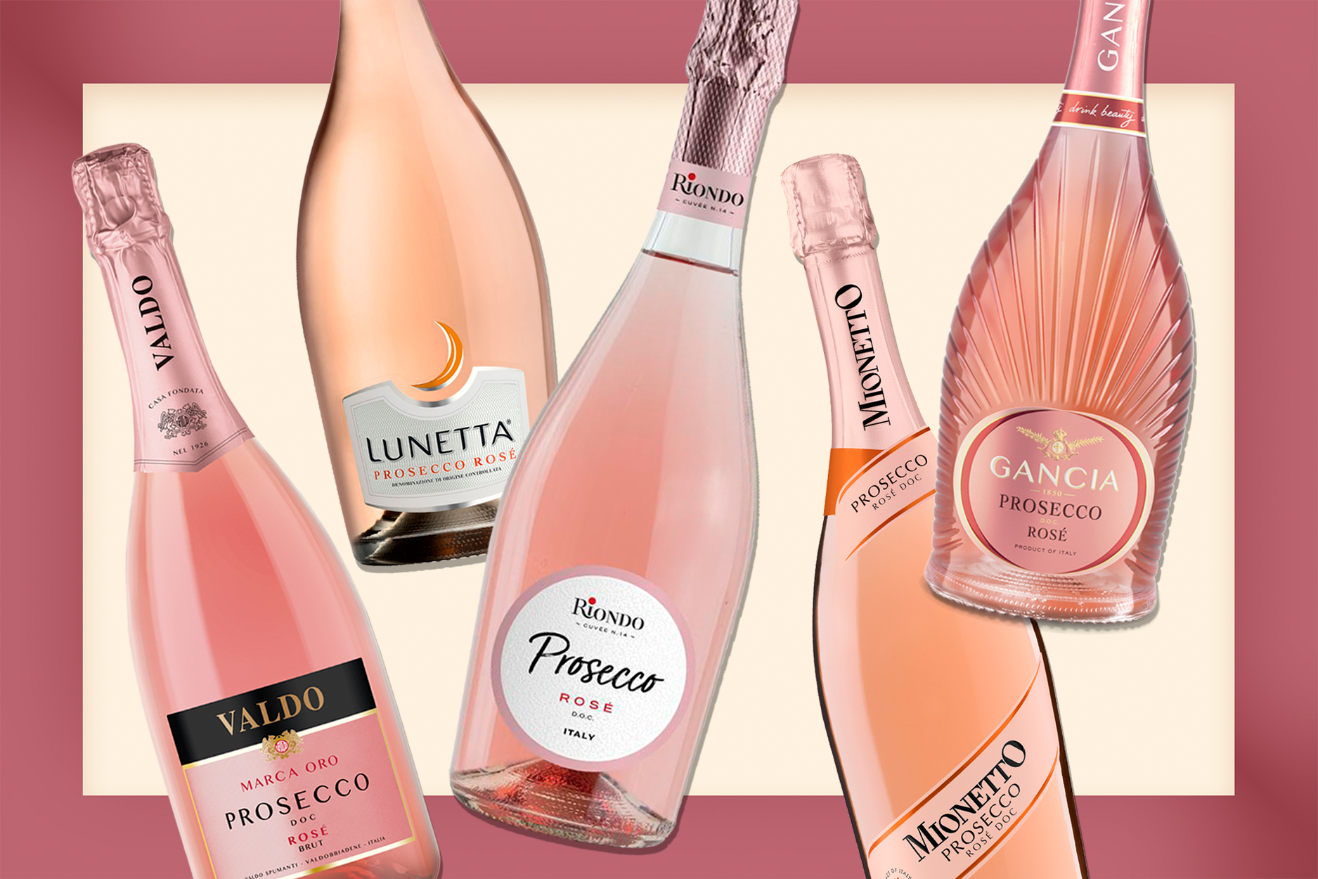 Bottles of Prosecco Rosé