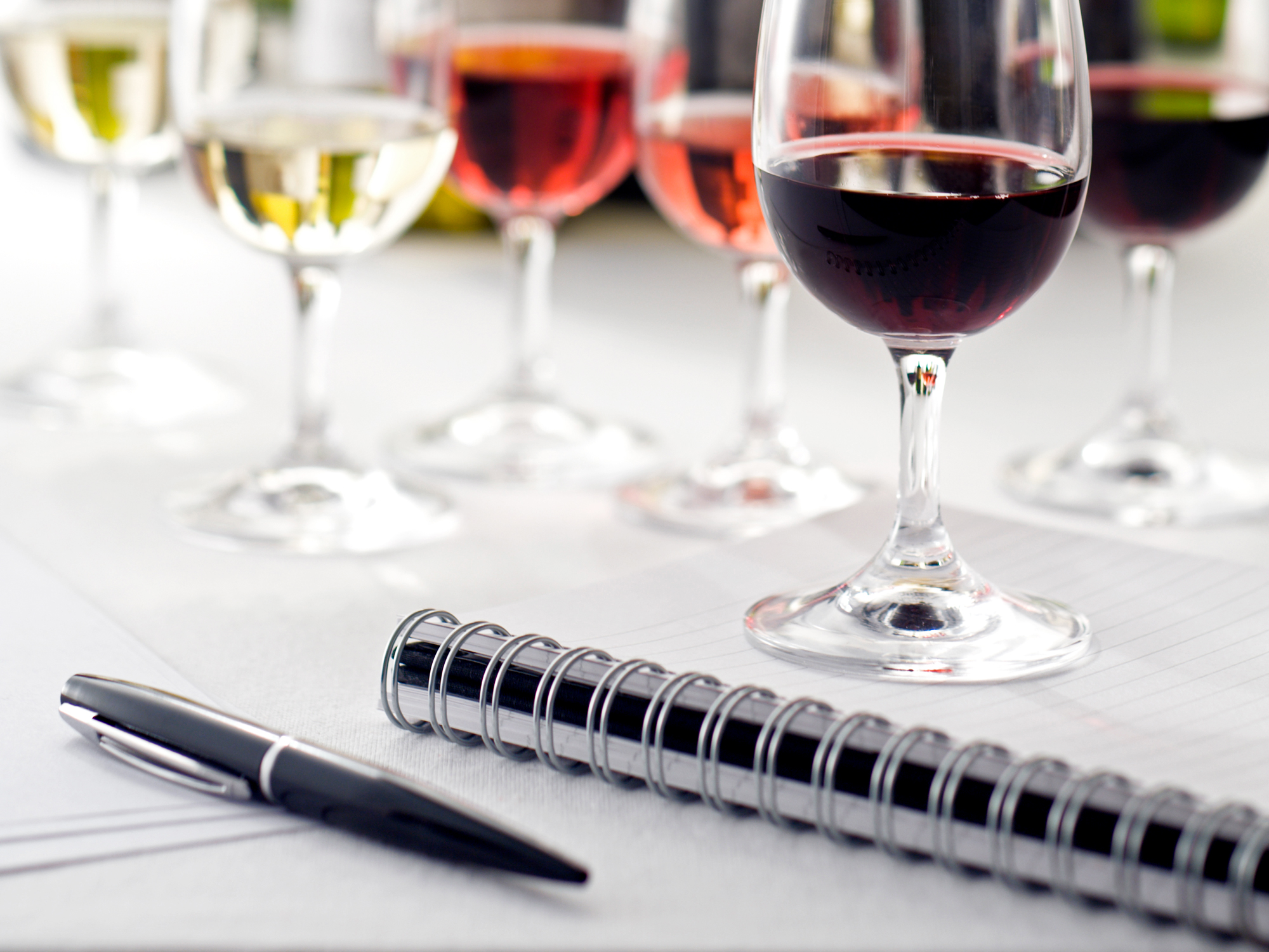 A note book, pen, and tasting glasses of wine