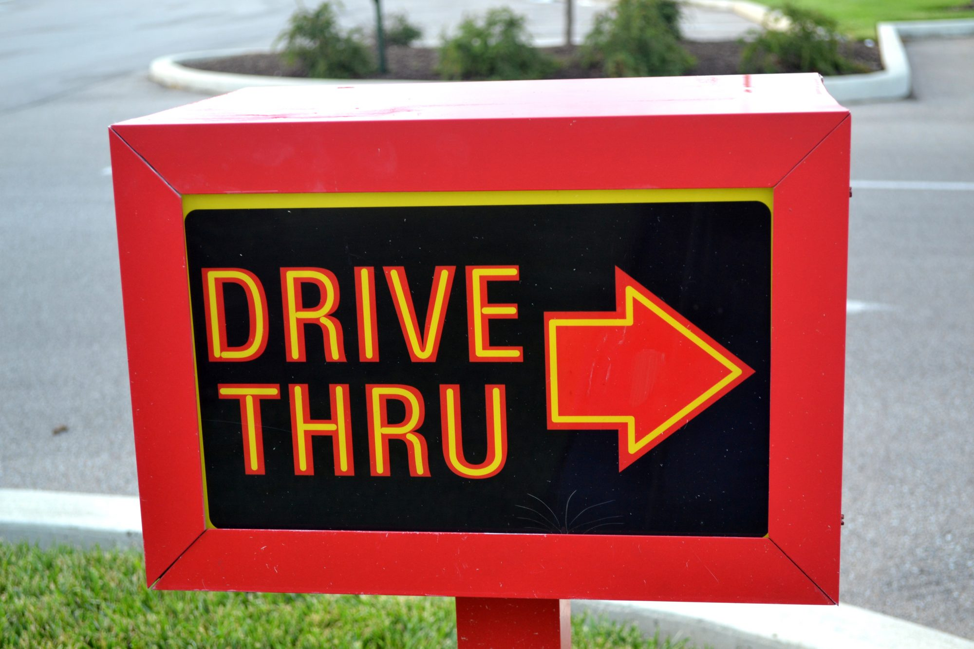 Drive Thru Signage With an Arrow