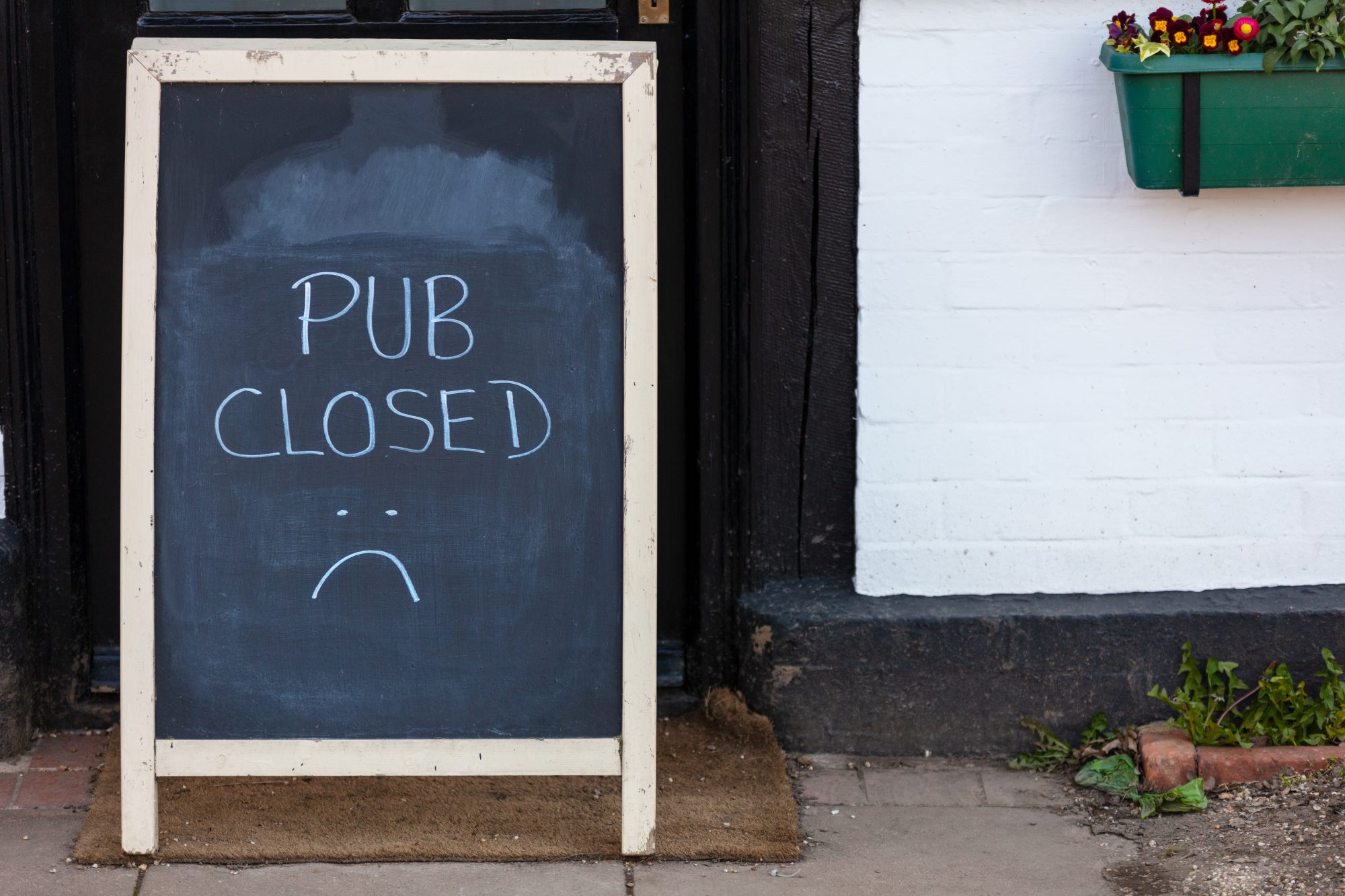 Pub Closed Blackboard or Chalkboard Sign Due to Coronavirus COVID-19 Pandemic