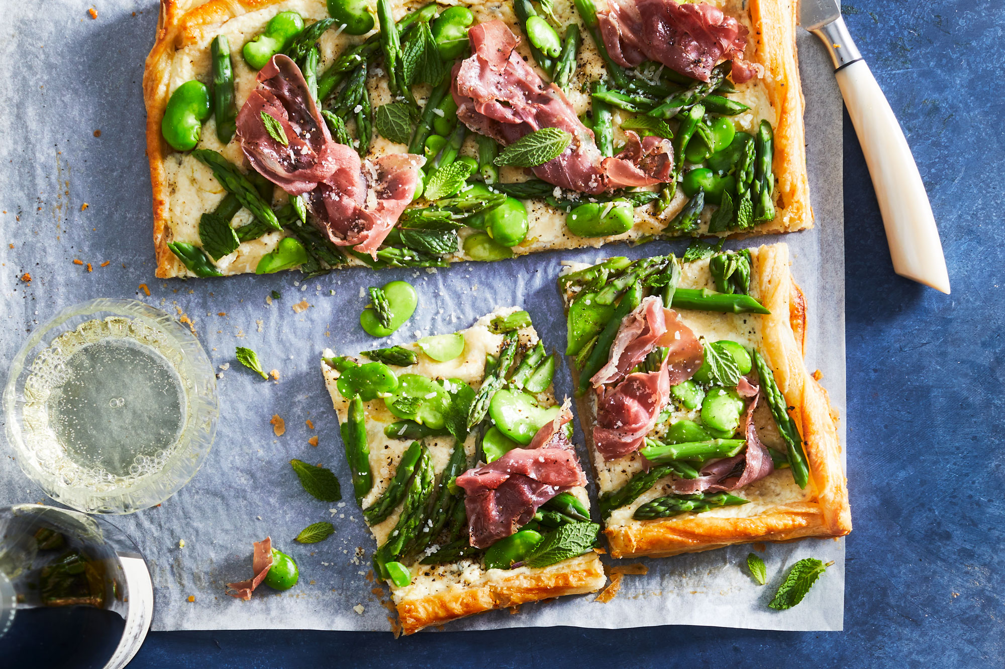 Asparagus and Fava Bean Tart with Herbed Ricotta