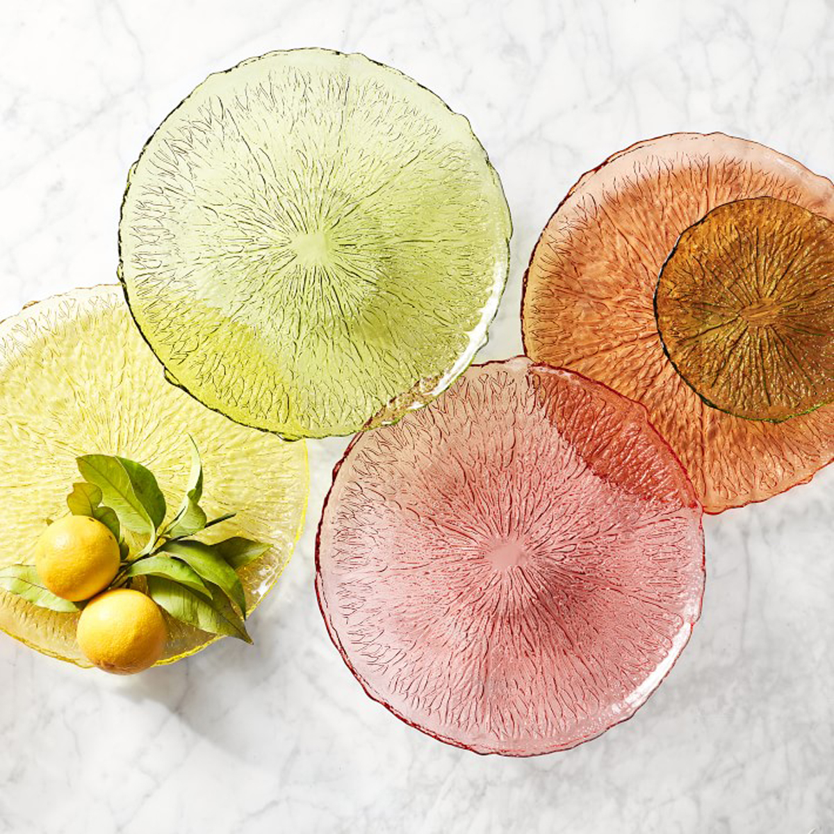 citrus glass chargers