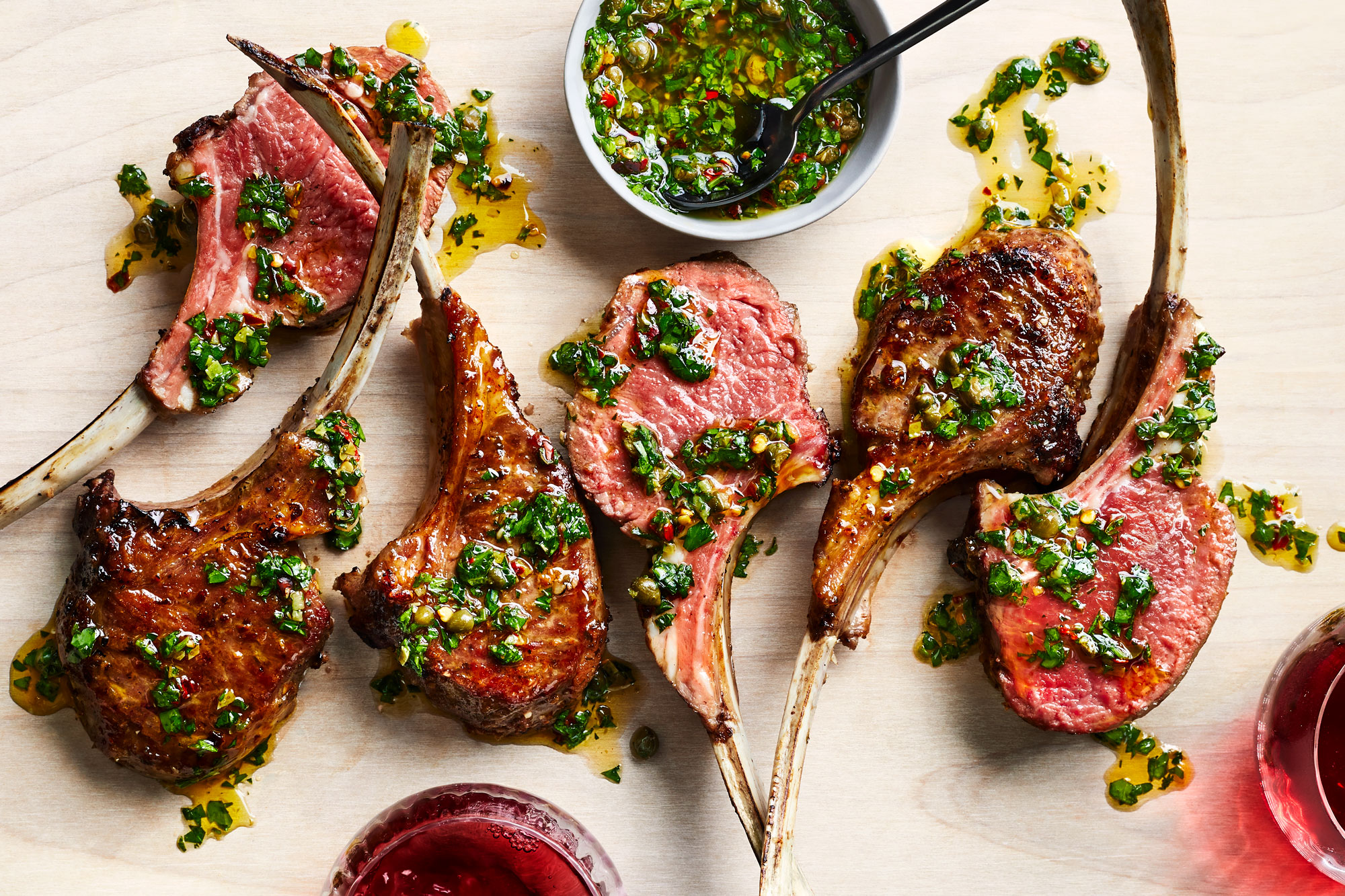 Double Cut Lamp Chops with Garlic Caper Rub