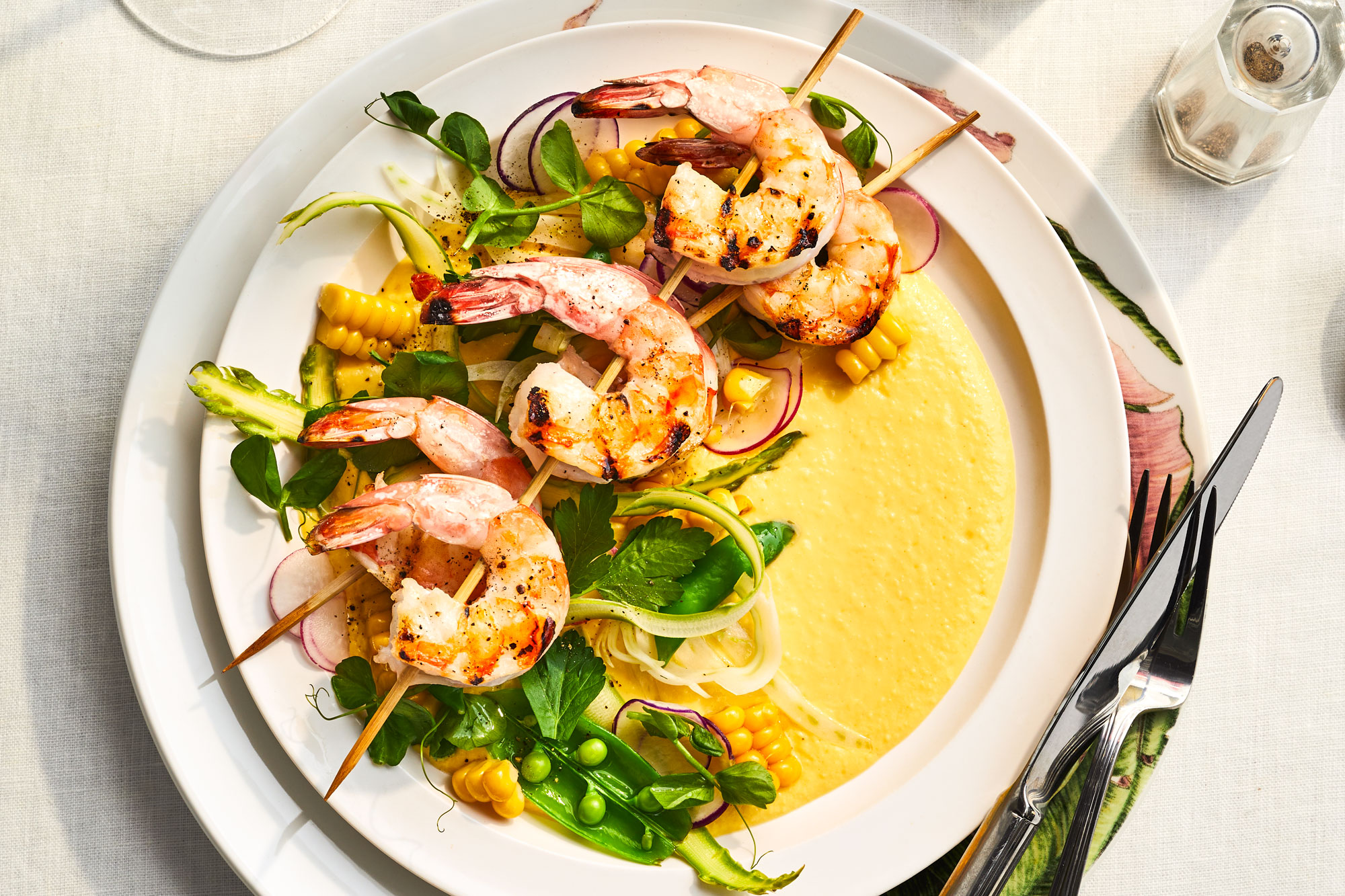 Grilled Gulf Shrimp with Sweet Corn Coulis