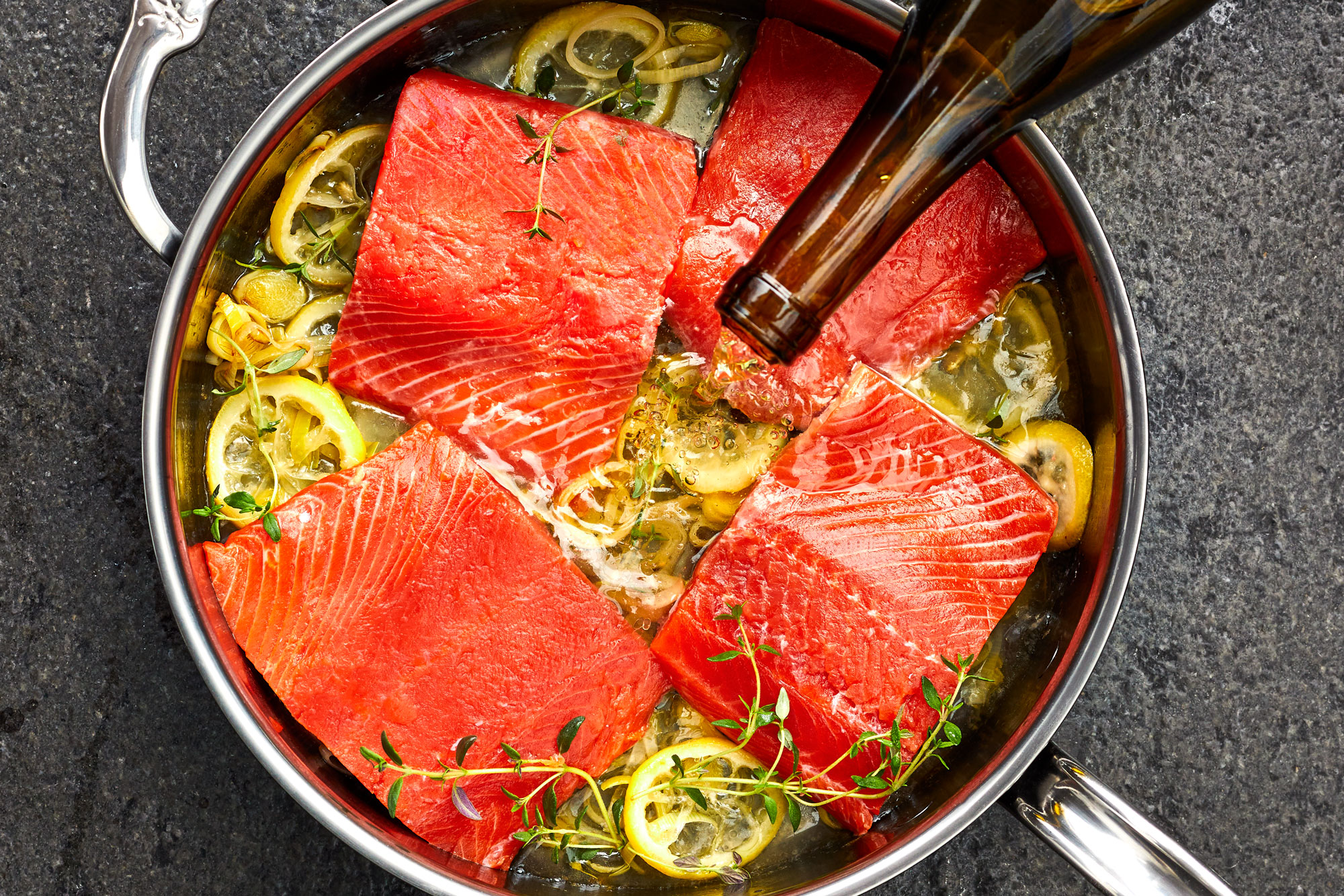 How to make slow poached salmon with leek beurre blanc