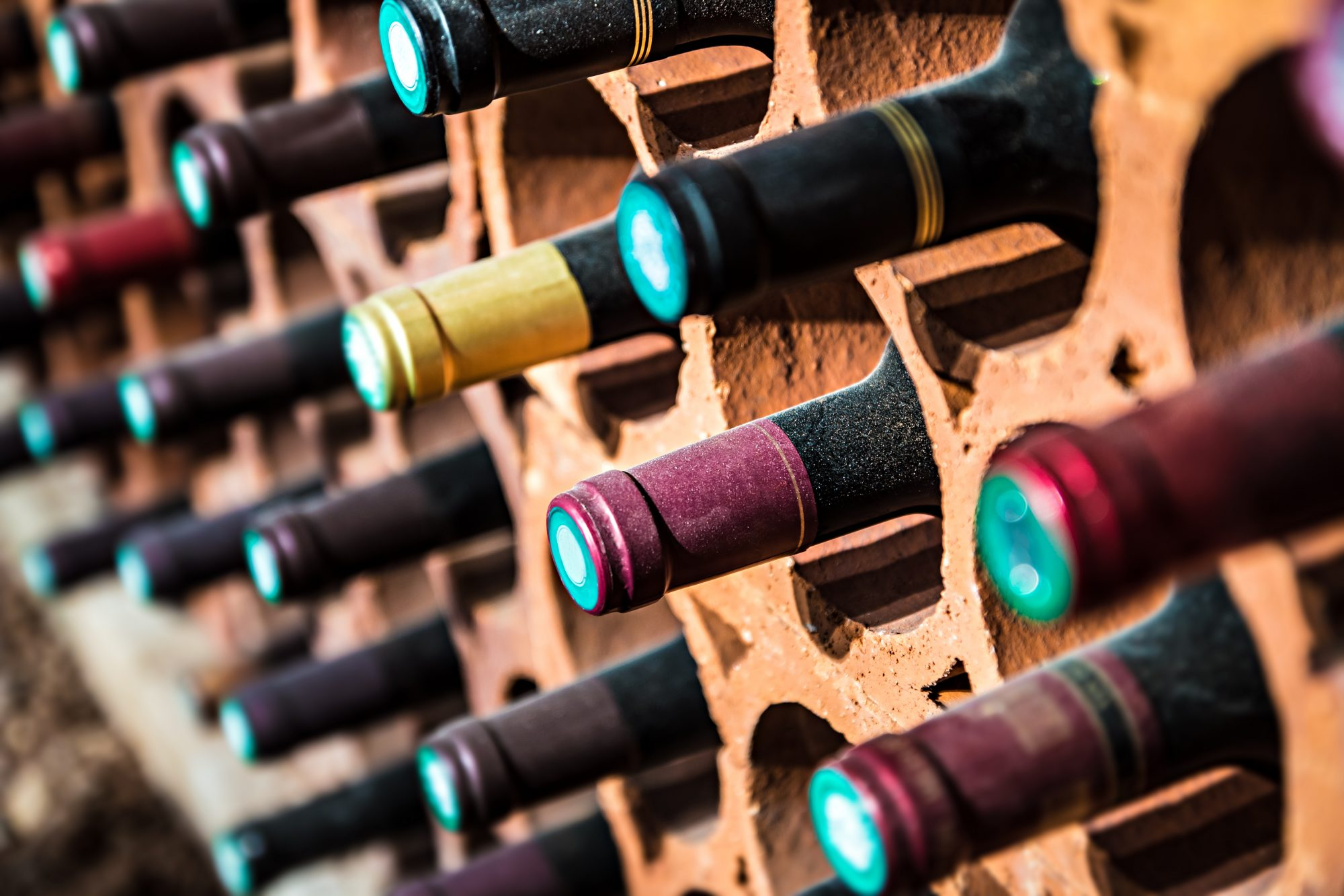 Wine bootles from cellar in selective focus